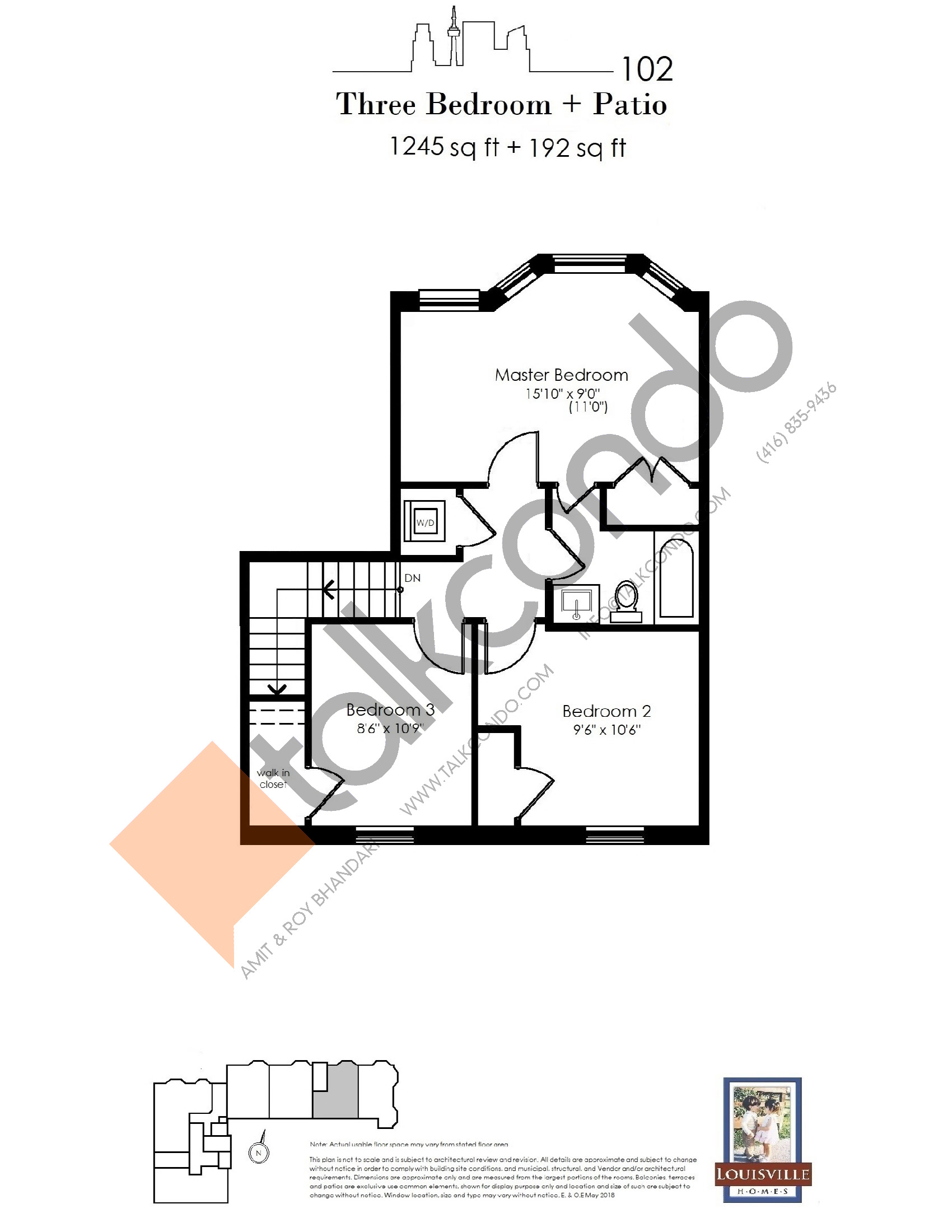 102 (2/2) Floor Plan at The Somerside Collection Condos - 1245 sq.ft