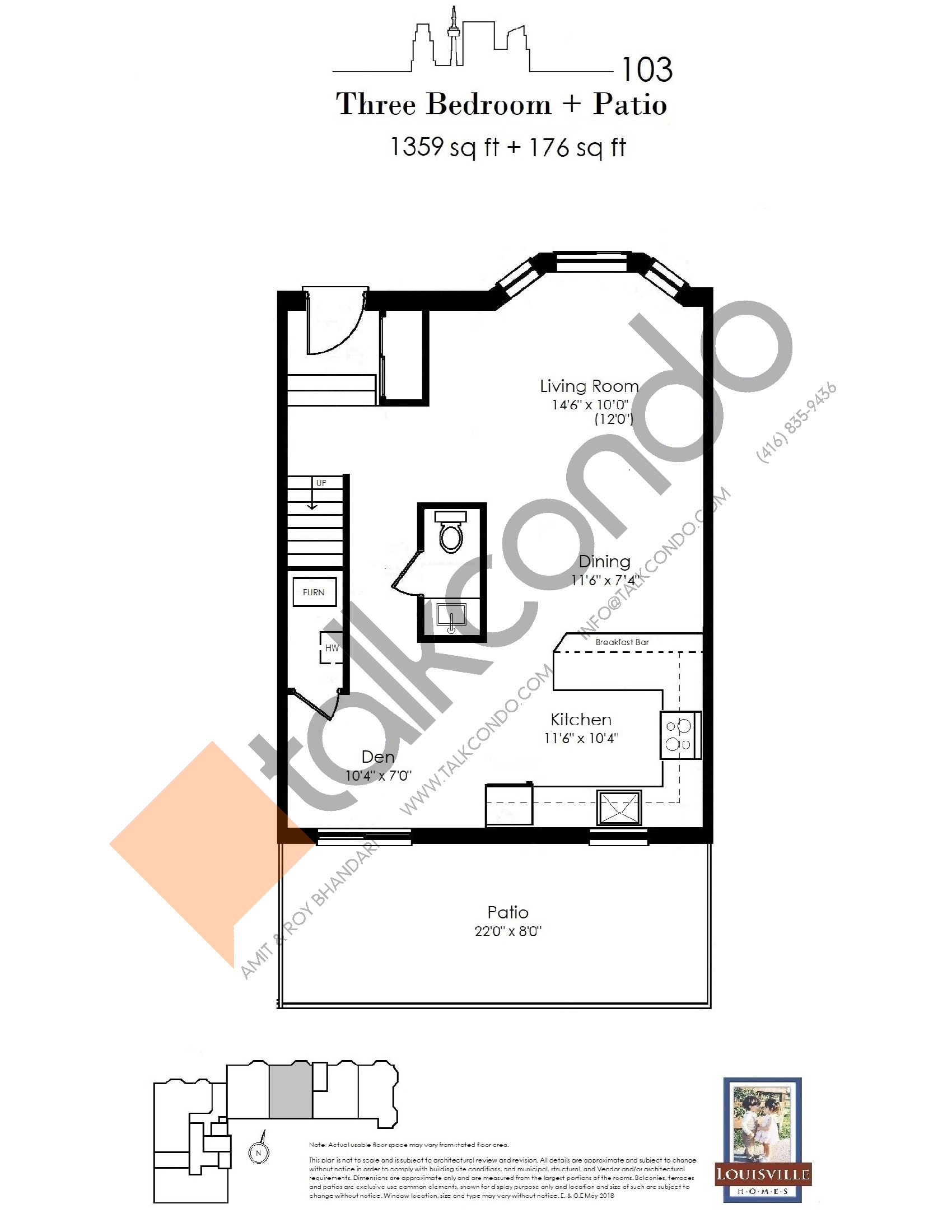 103 (1/2) Floor Plan at The Somerside Collection Condos - 1359 sq.ft