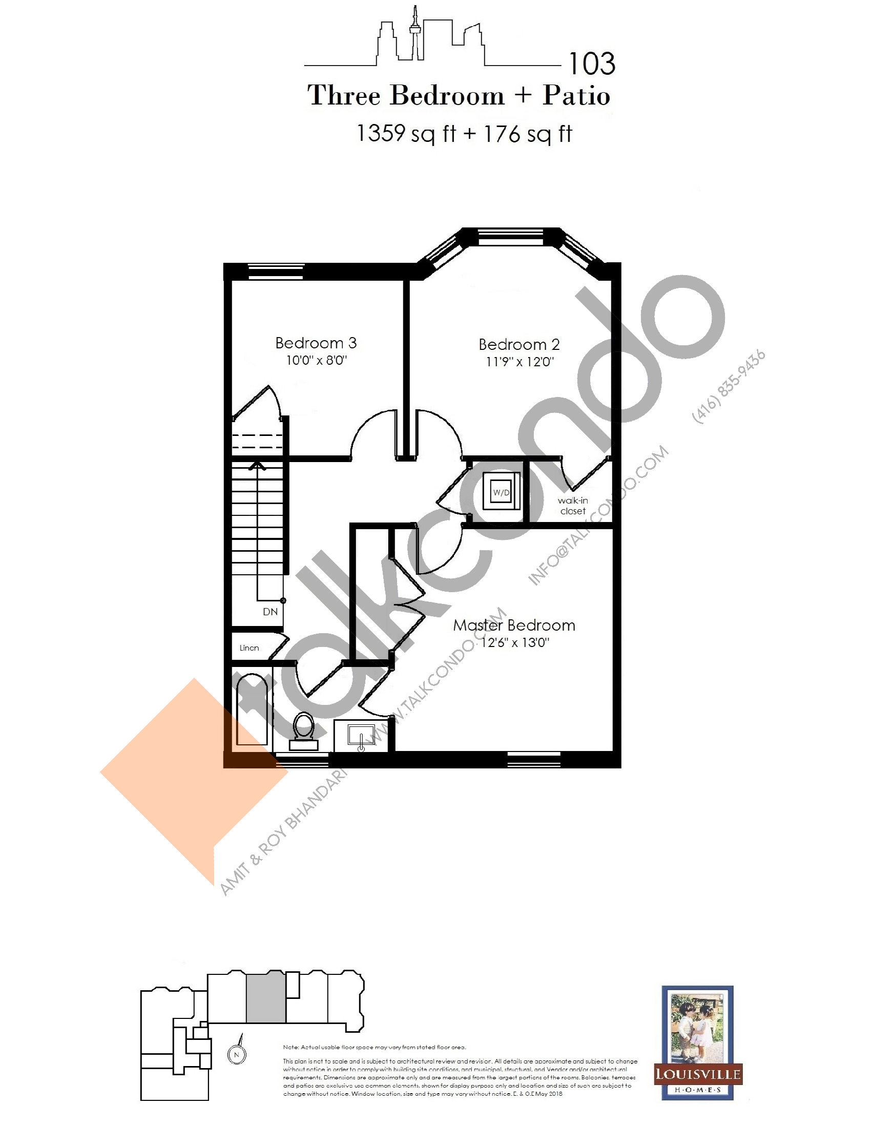 103 (2/2) Floor Plan at The Somerside Collection Condos - 1359 sq.ft