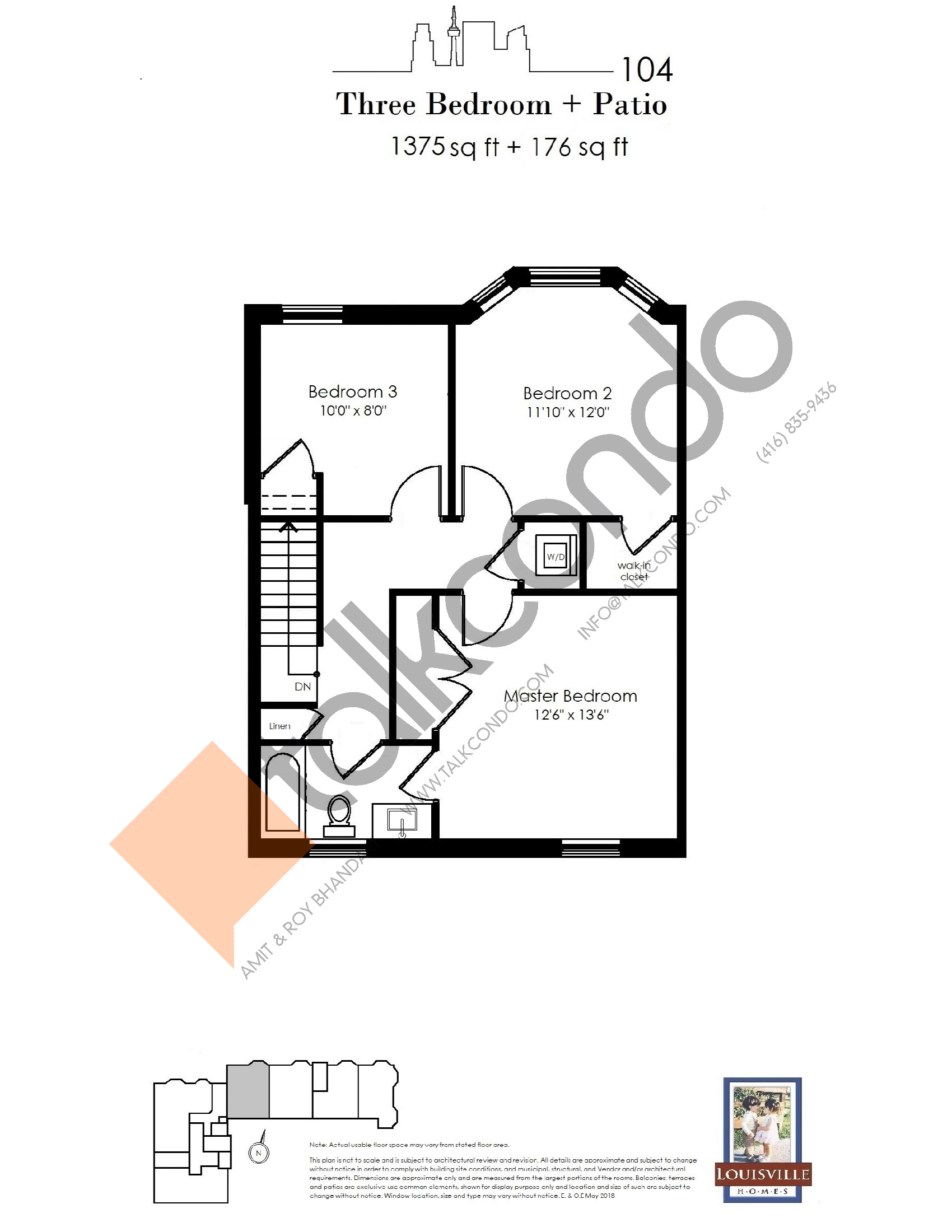 104 (2/2) Floor Plan at The Somerside Collection Condos - 1375 sq.ft