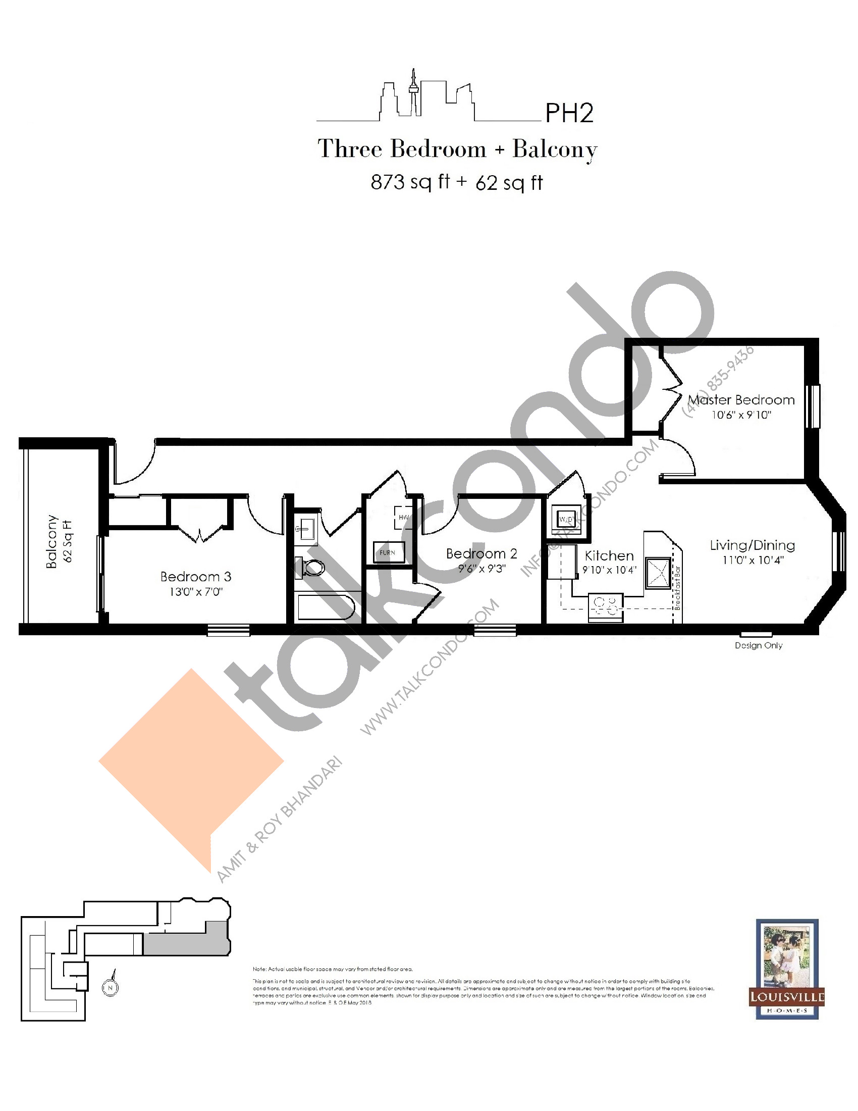 PH2 Floor Plan at The Somerside Collection Condos - 873 sq.ft