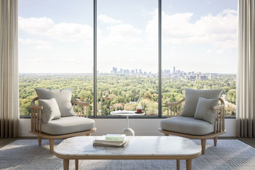 view over green space at westport condos