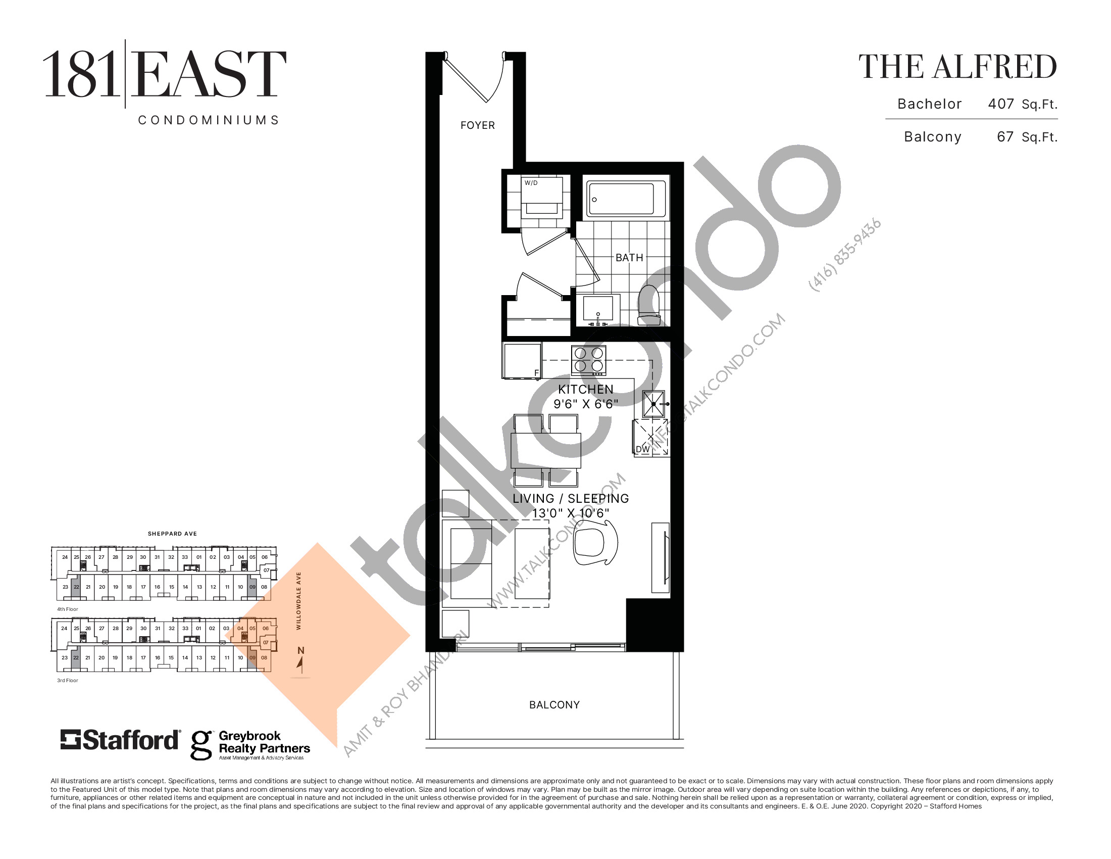 The Alfred Floor Plan at 181 East Condos - 407 sq.ft
