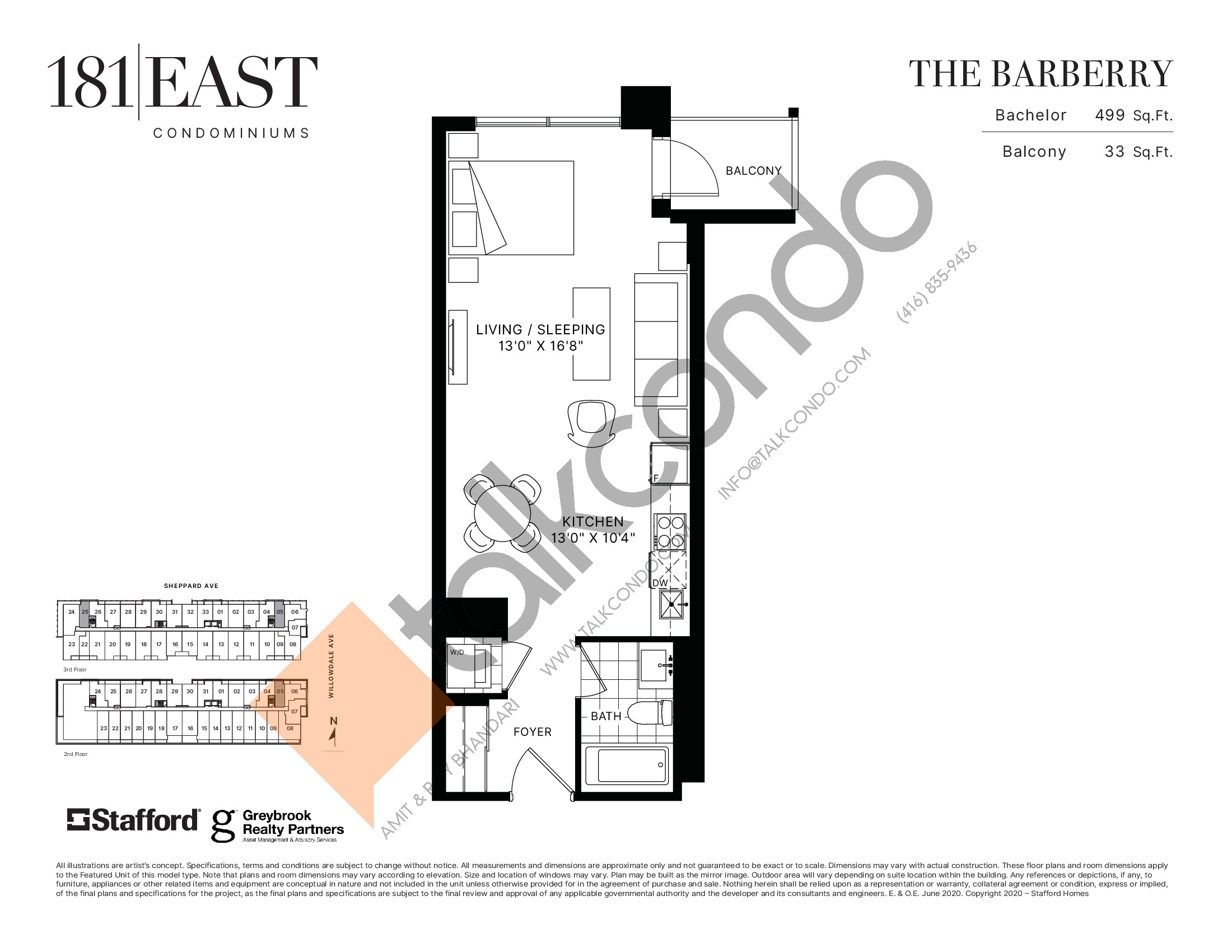 The Barberry Floor Plan at 181 East Condos - 499 sq.ft
