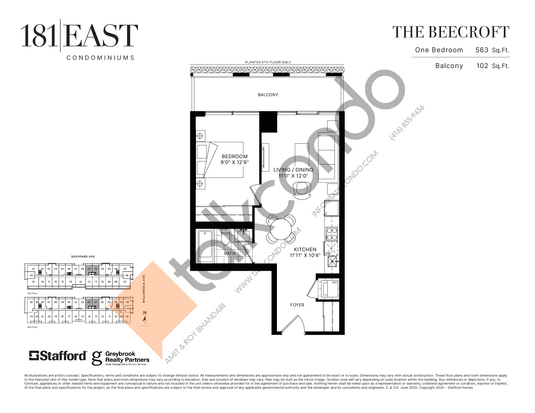 The Beecroft Floor Plan at 181 East Condos - 563 sq.ft