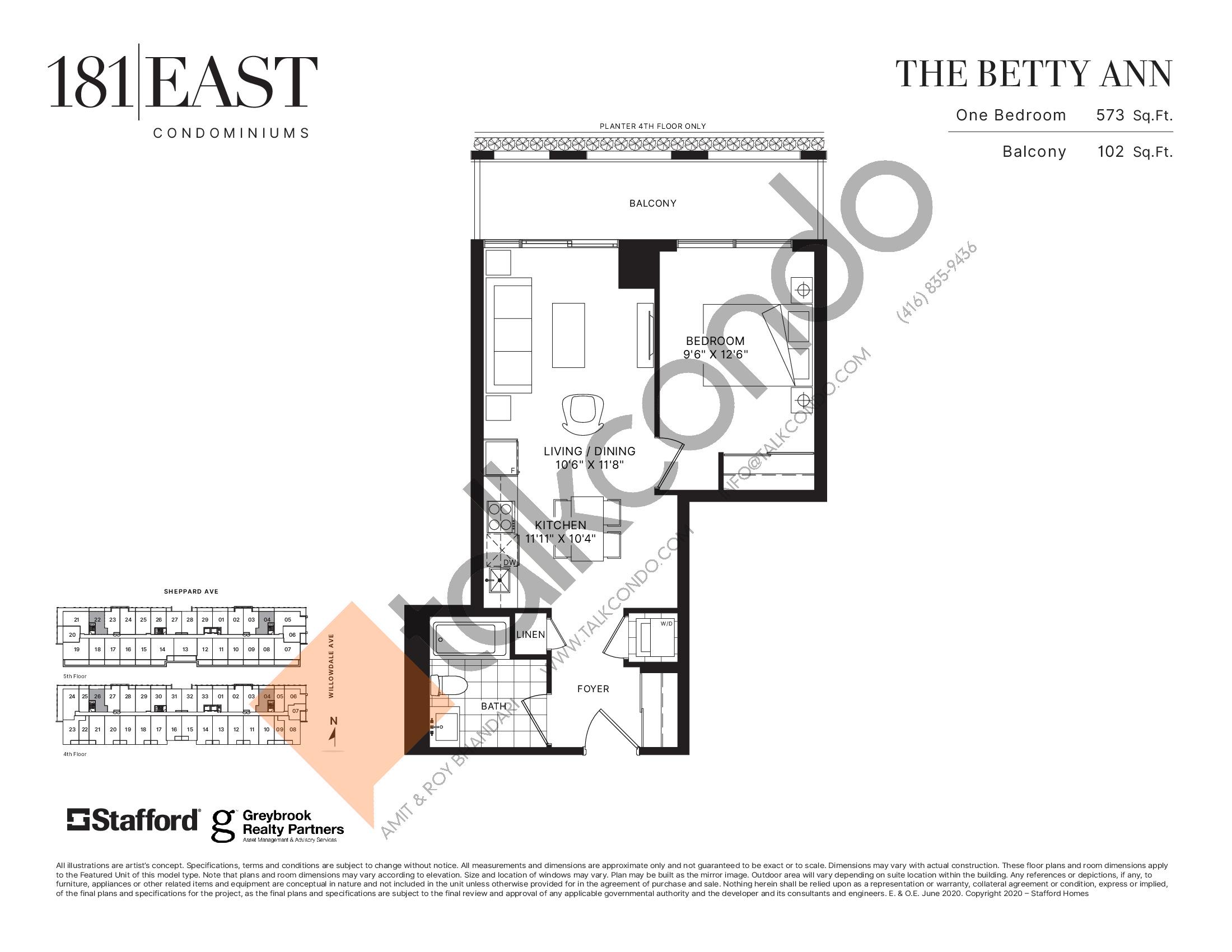 The Betty Ann Floor Plan at 181 East Condos - 573 sq.ft