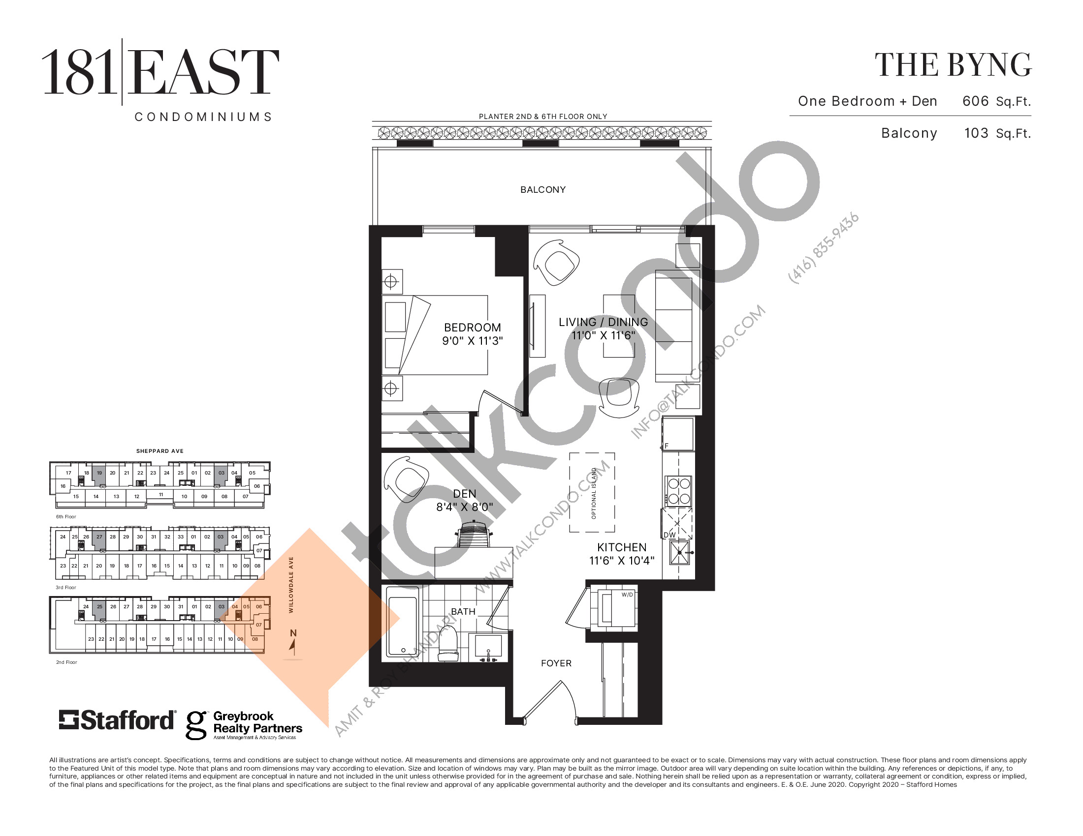 The Byng Floor Plan at 181 East Condos - 606 sq.ft