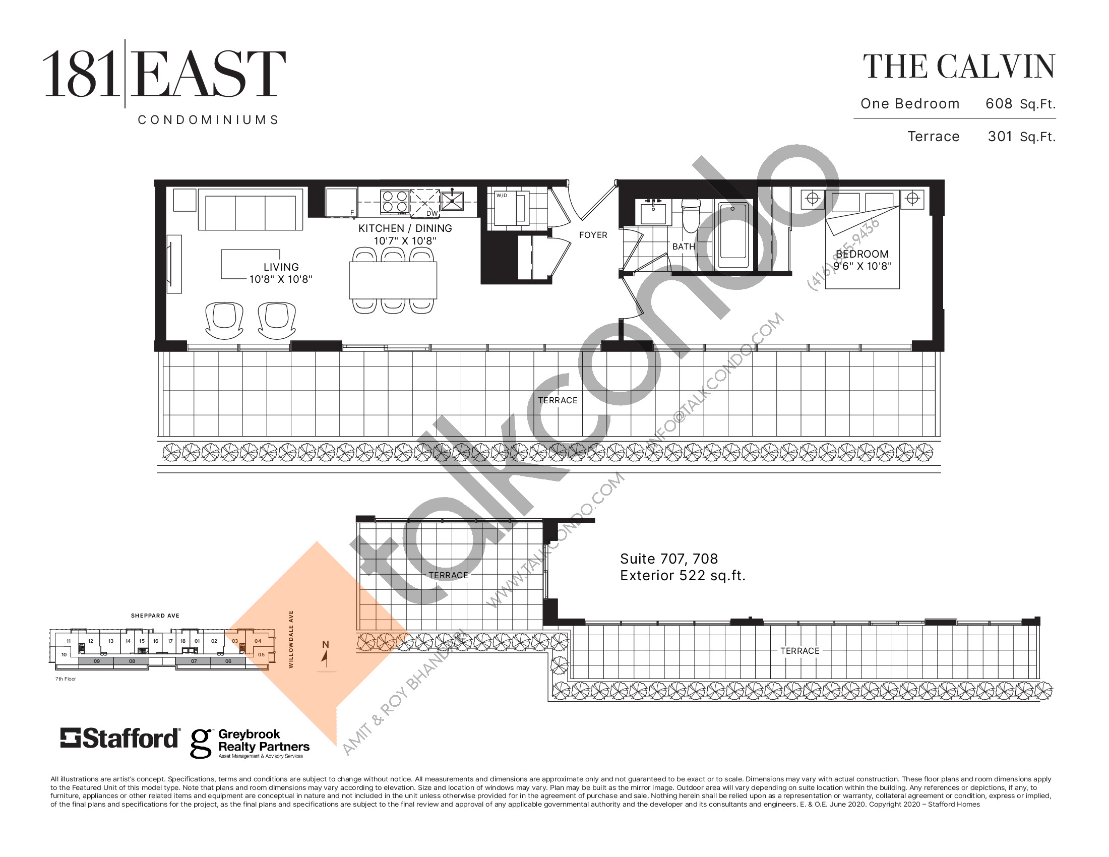The Calvin Floor Plan at 181 East Condos - 608 sq.ft