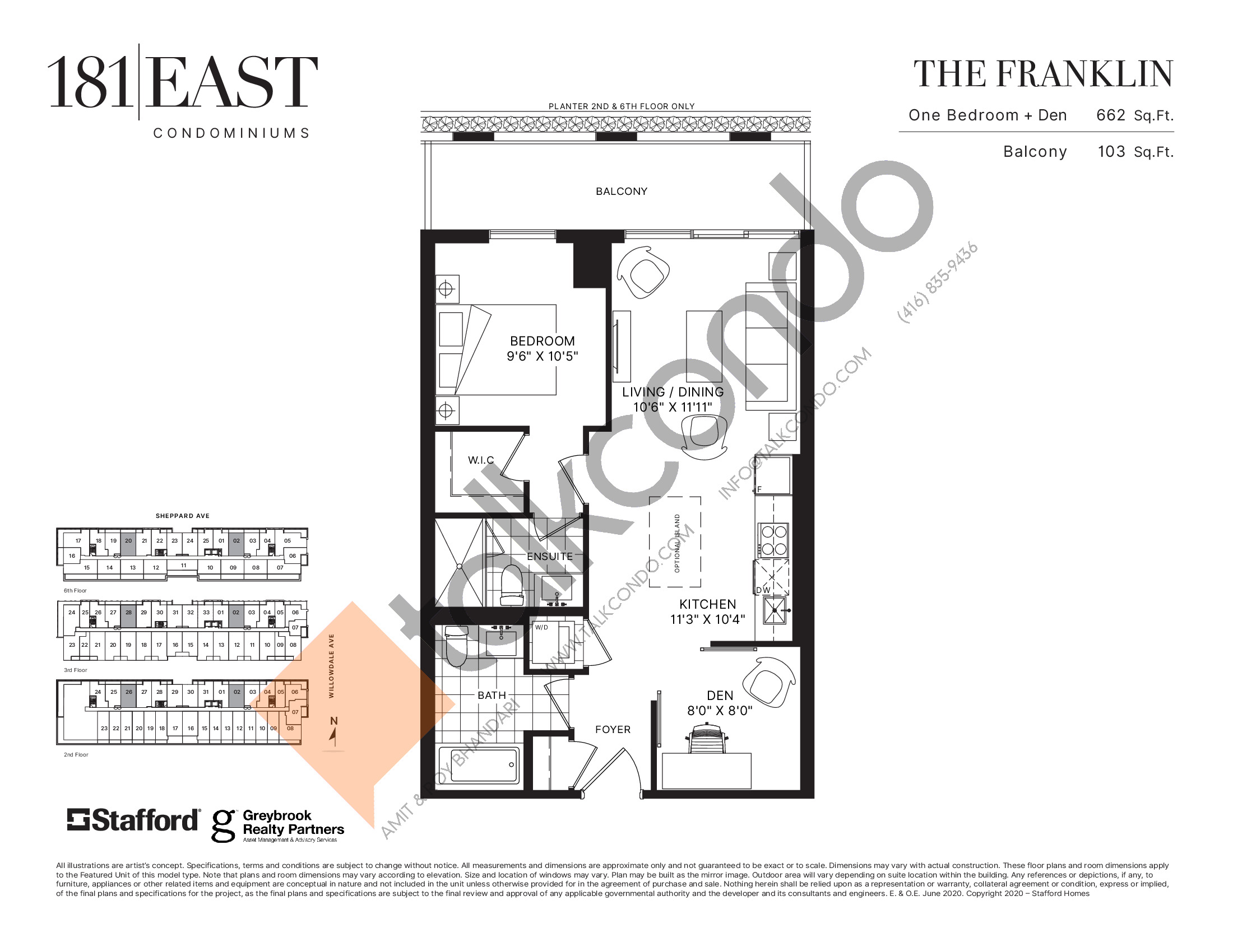 The Franklin Floor Plan at 181 East Condos - 662 sq.ft