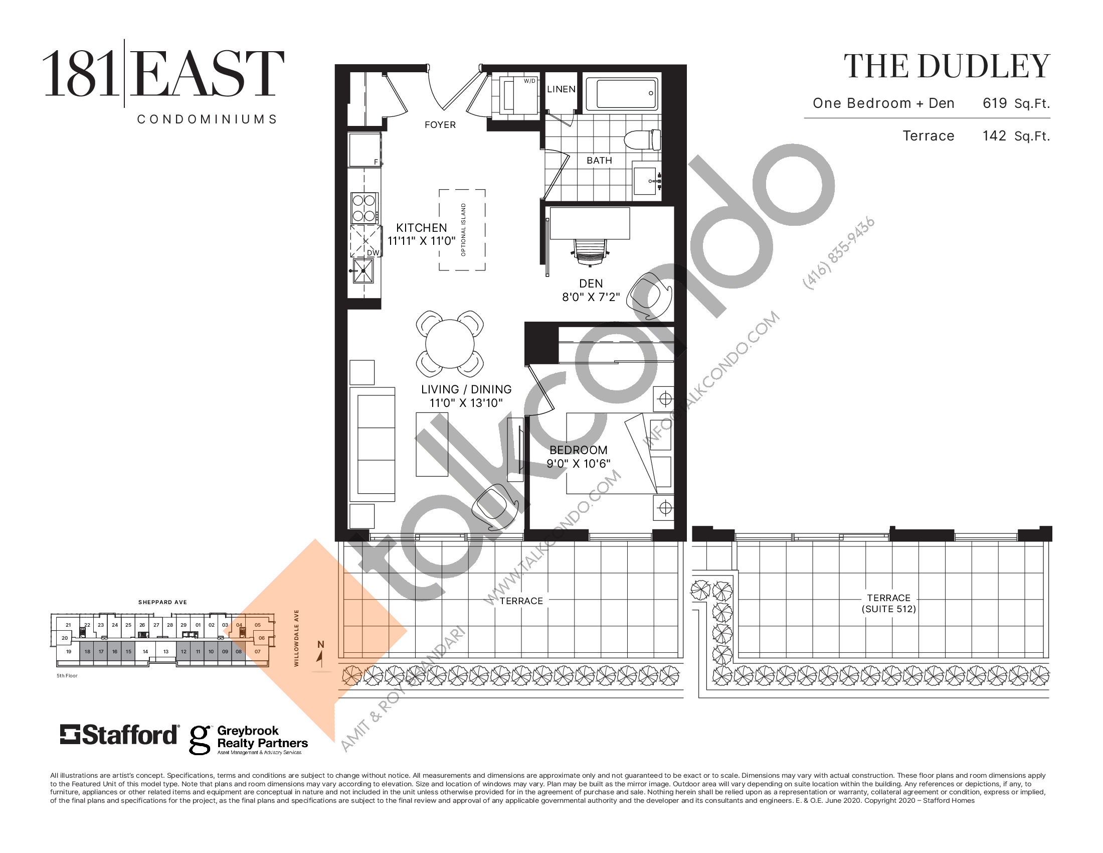 The Dudley Floor Plan at 181 East Condos - 619 sq.ft