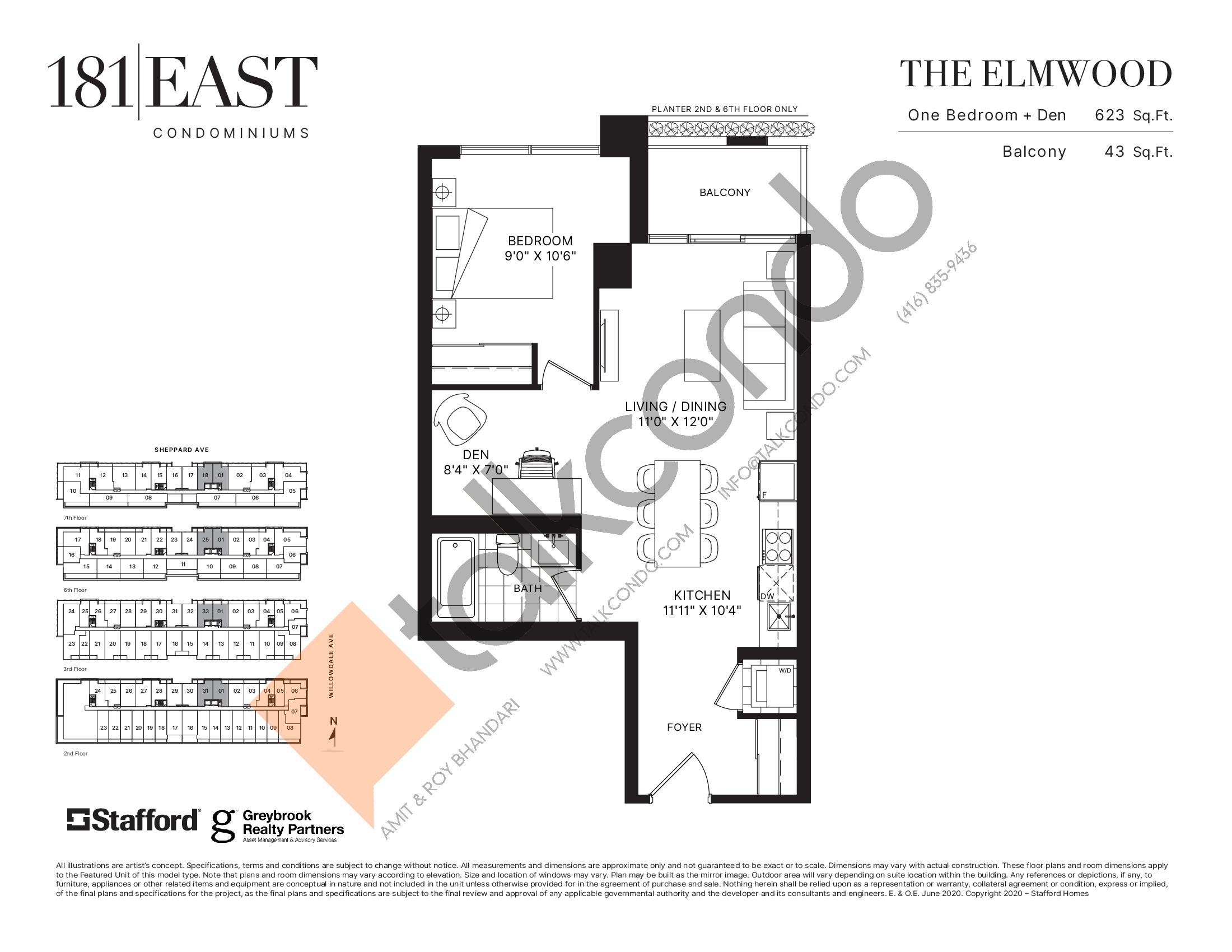 The Elmwood Floor Plan at 181 East Condos - 623 sq.ft