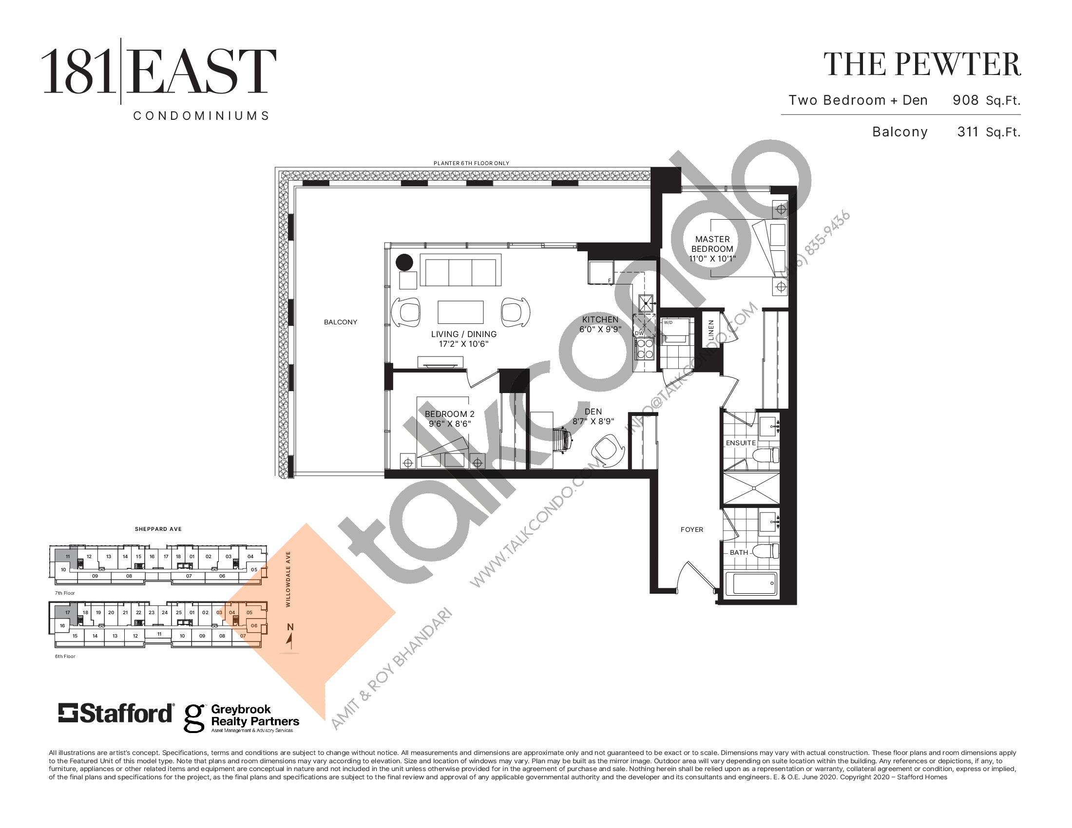 The Pewter Floor Plan at 181 East Condos - 908 sq.ft