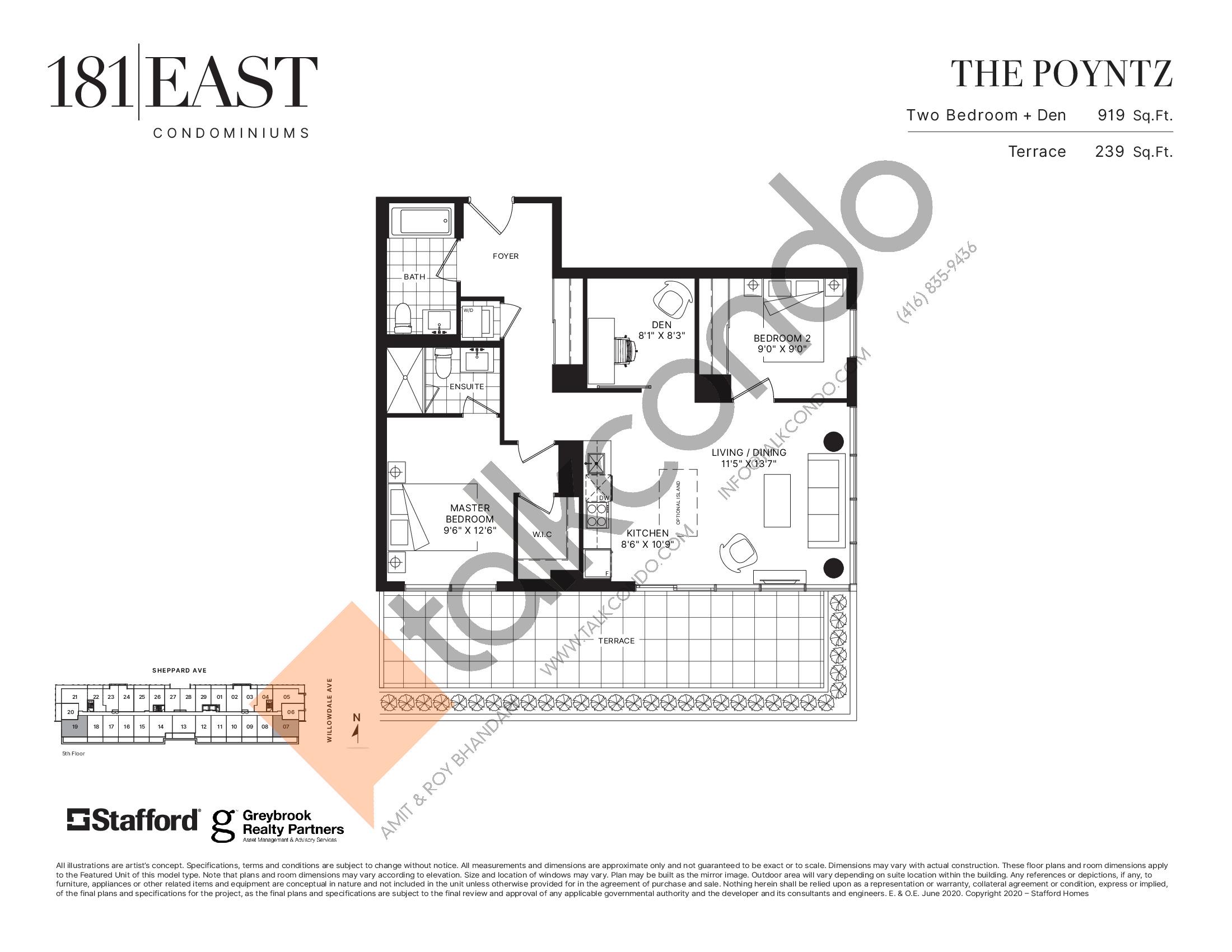The Poyntz Floor Plan at 181 East Condos - 919 sq.ft