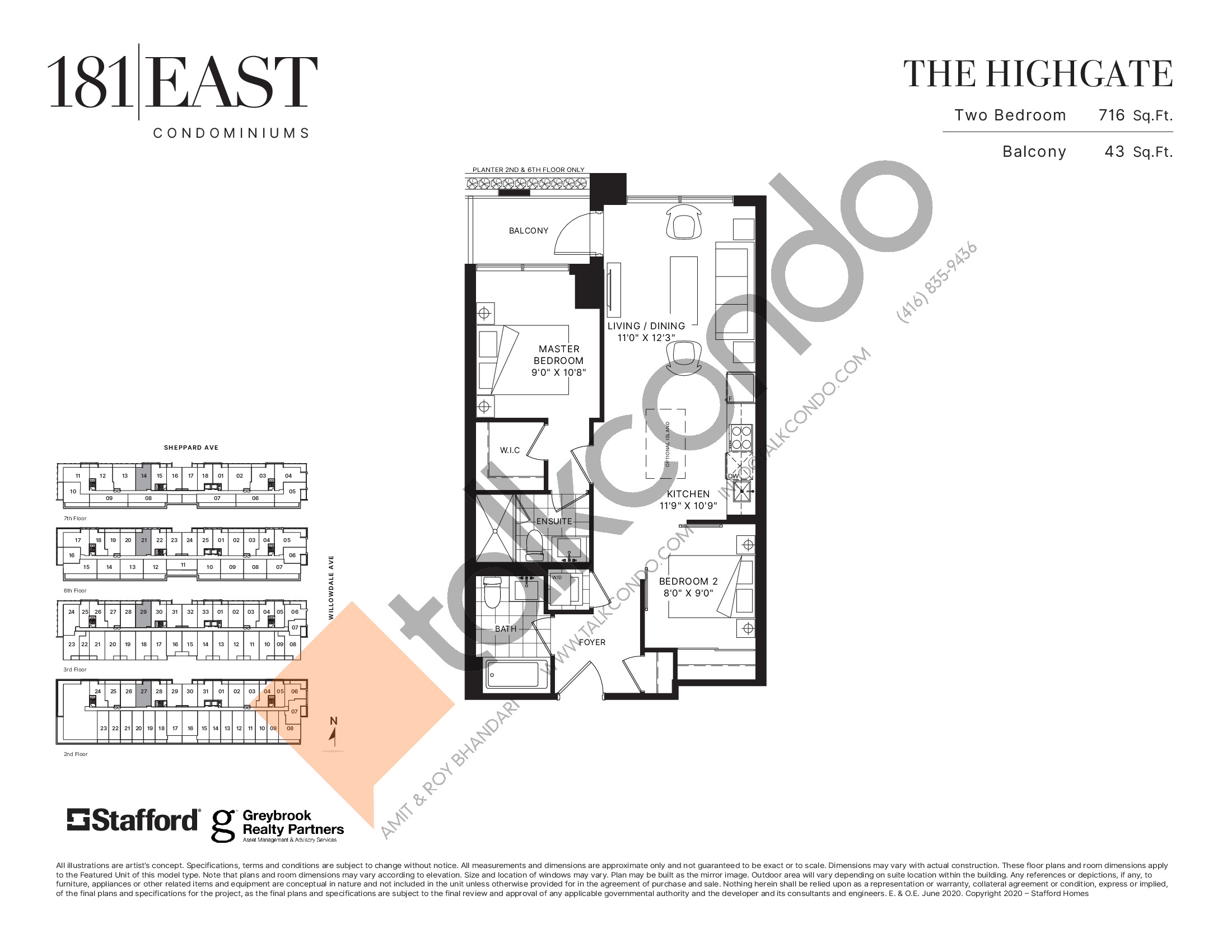 The Highgate Floor Plan at 181 East Condos - 716 sq.ft
