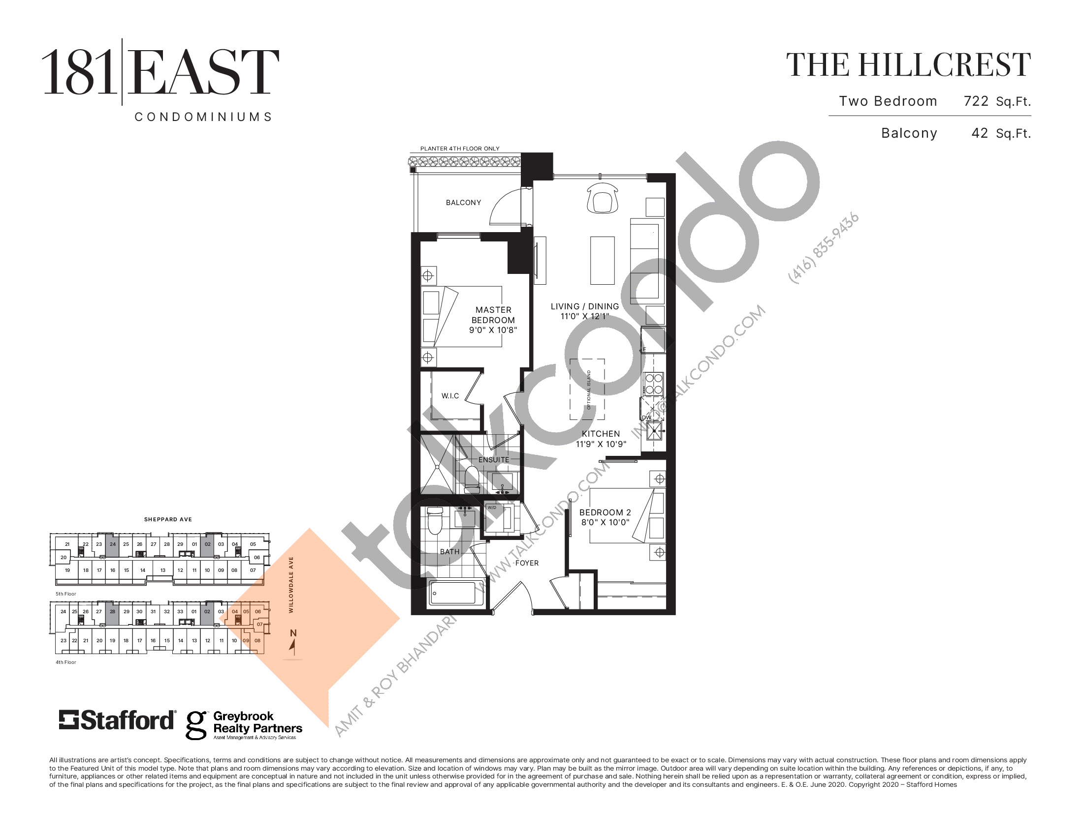 The Hillcrest Floor Plan at 181 East Condos - 722 sq.ft