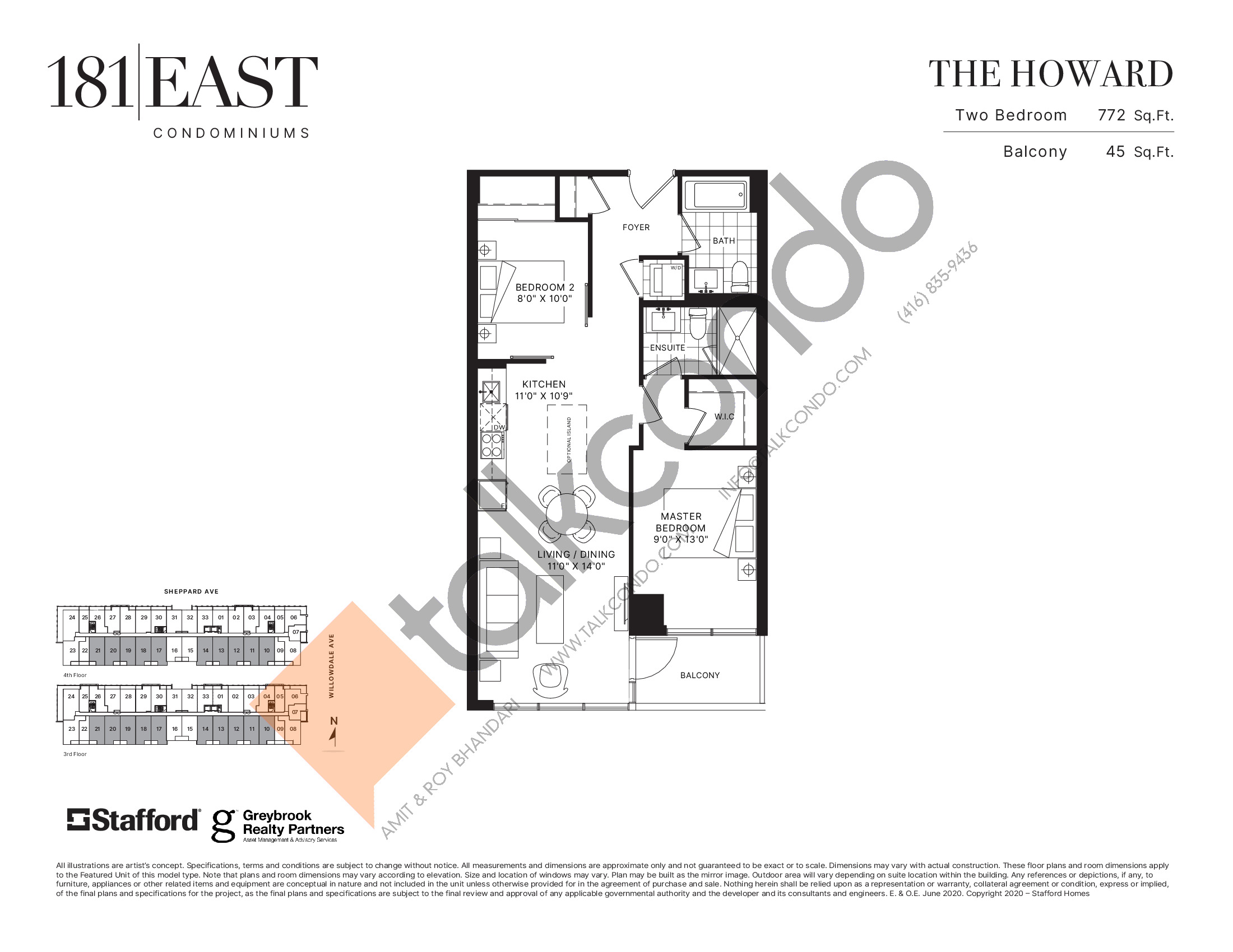 The Howard Floor Plan at 181 East Condos - 772 sq.ft