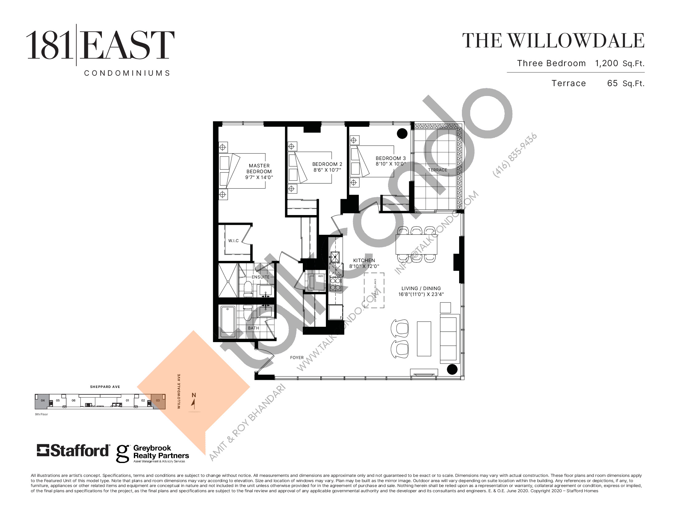 The Willowdale Floor Plan at 181 East Condos - 1200 sq.ft