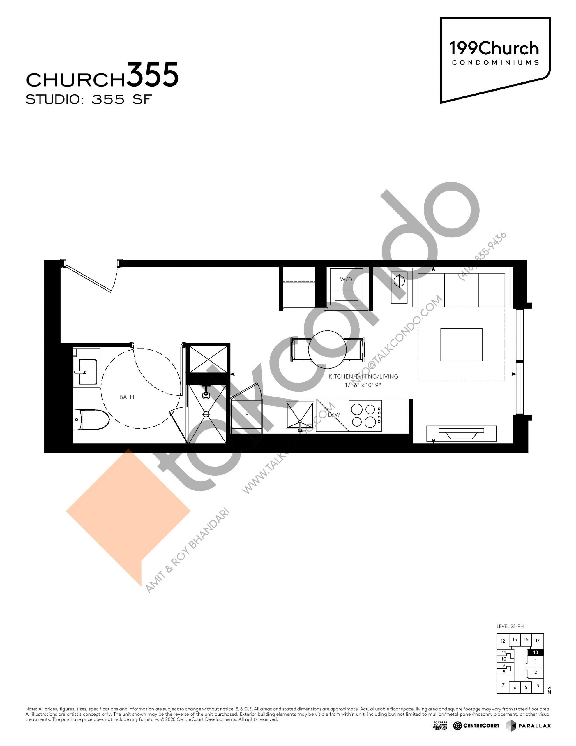 Church 355 Floor Plan at 199 Church Condos - 355 sq.ft