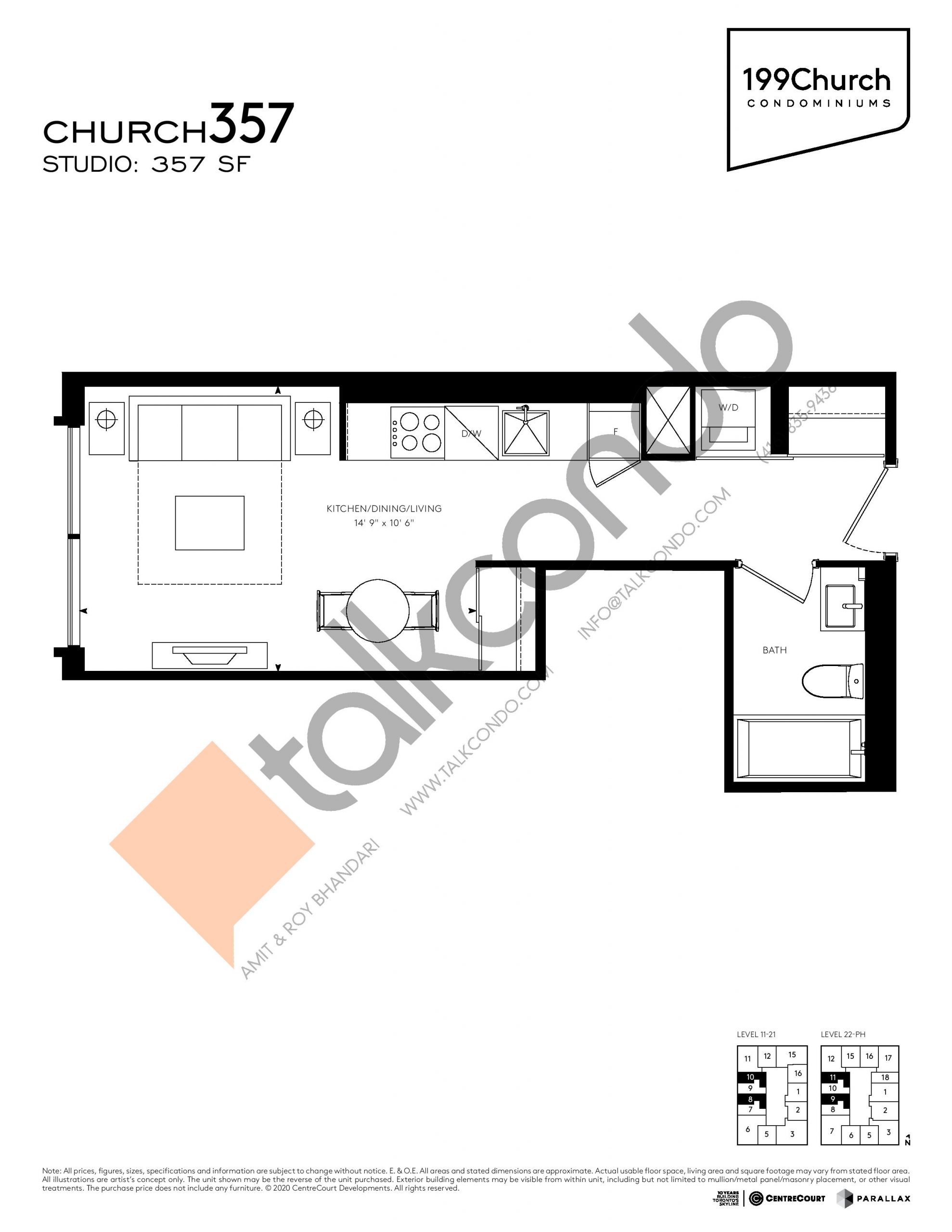Church 357 Floor Plan at 199 Church Condos - 357 sq.ft