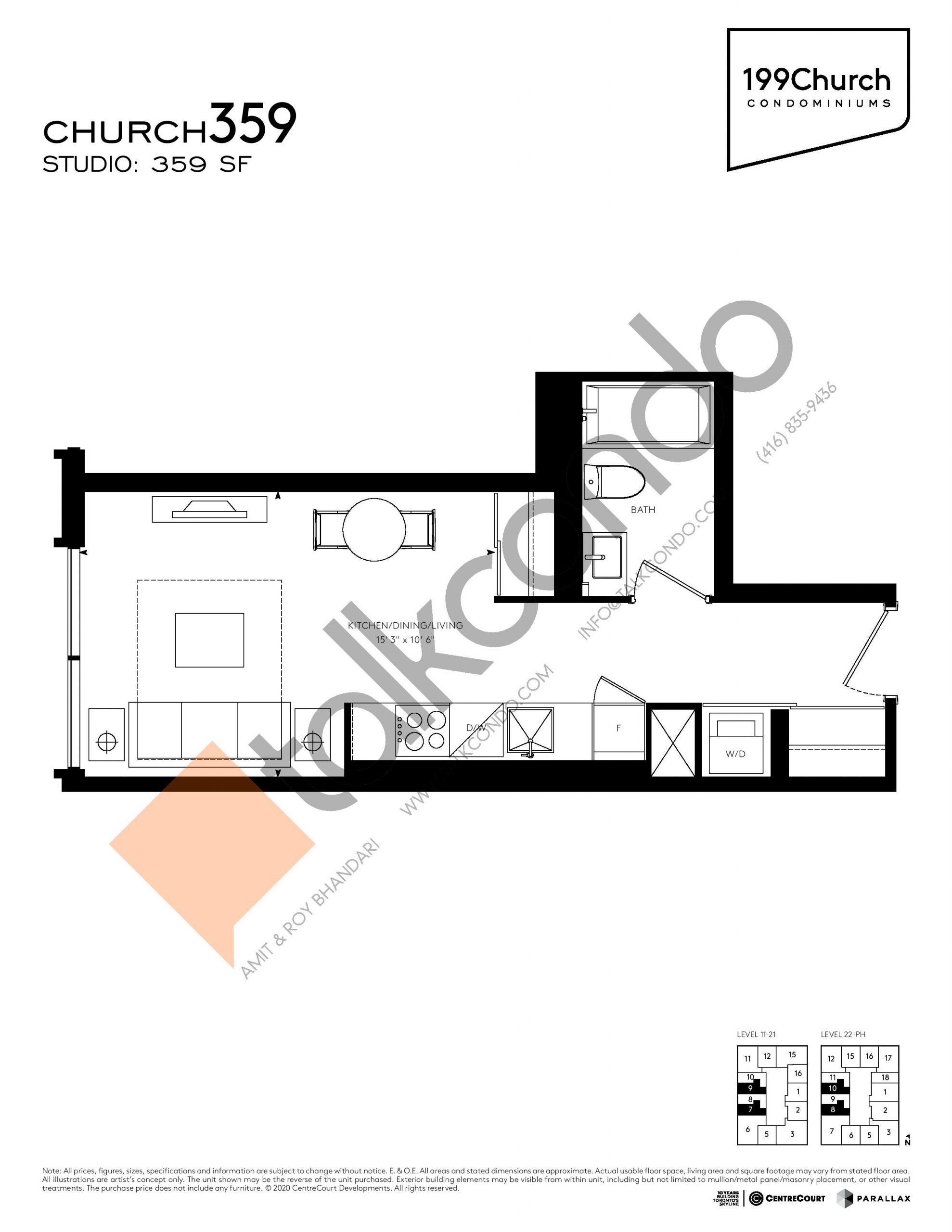 Church 359 Floor Plan at 199 Church Condos - 359 sq.ft