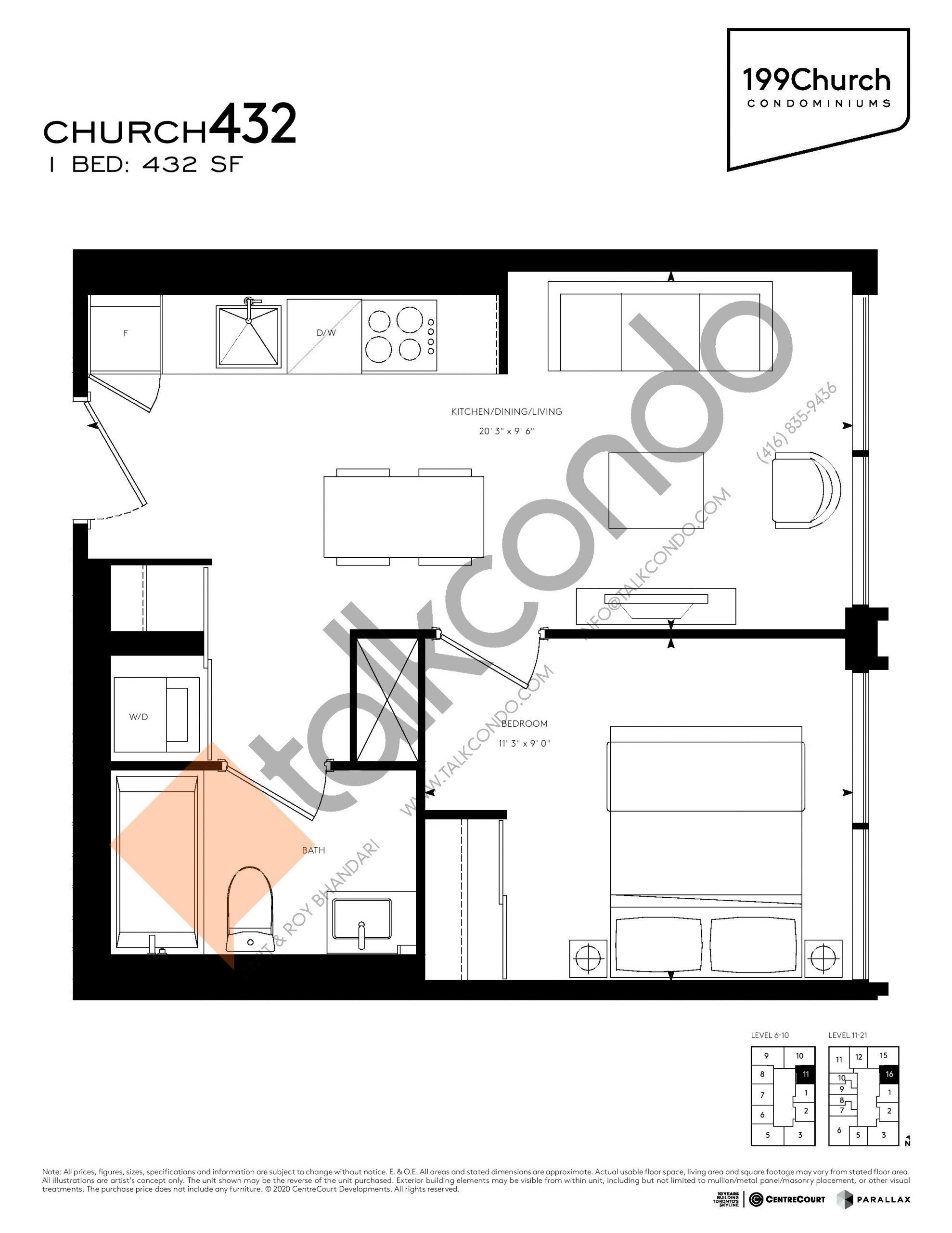 Church 432 Floor Plan at 199 Church Condos - 432 sq.ft