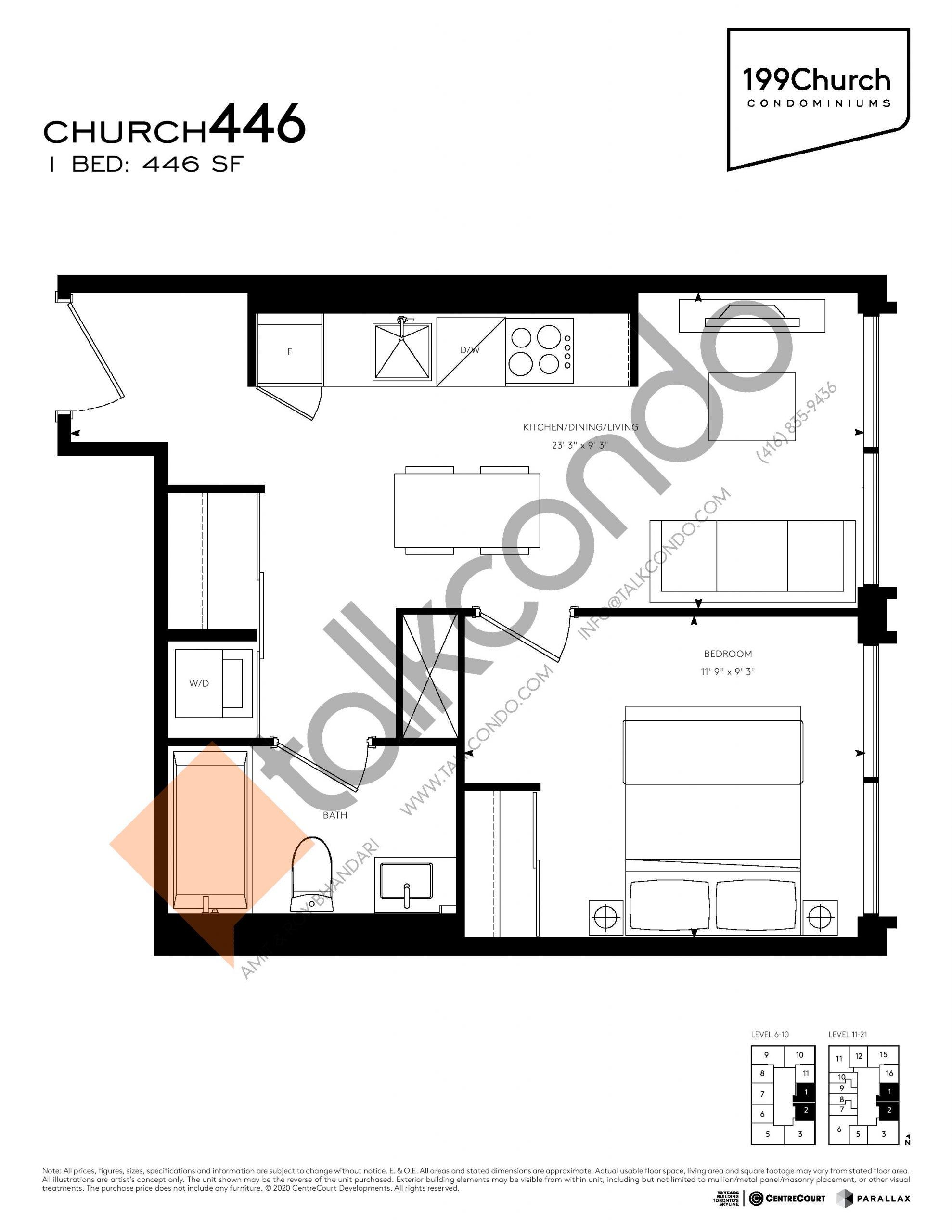Church 446 Floor Plan at 199 Church Condos - 446 sq.ft