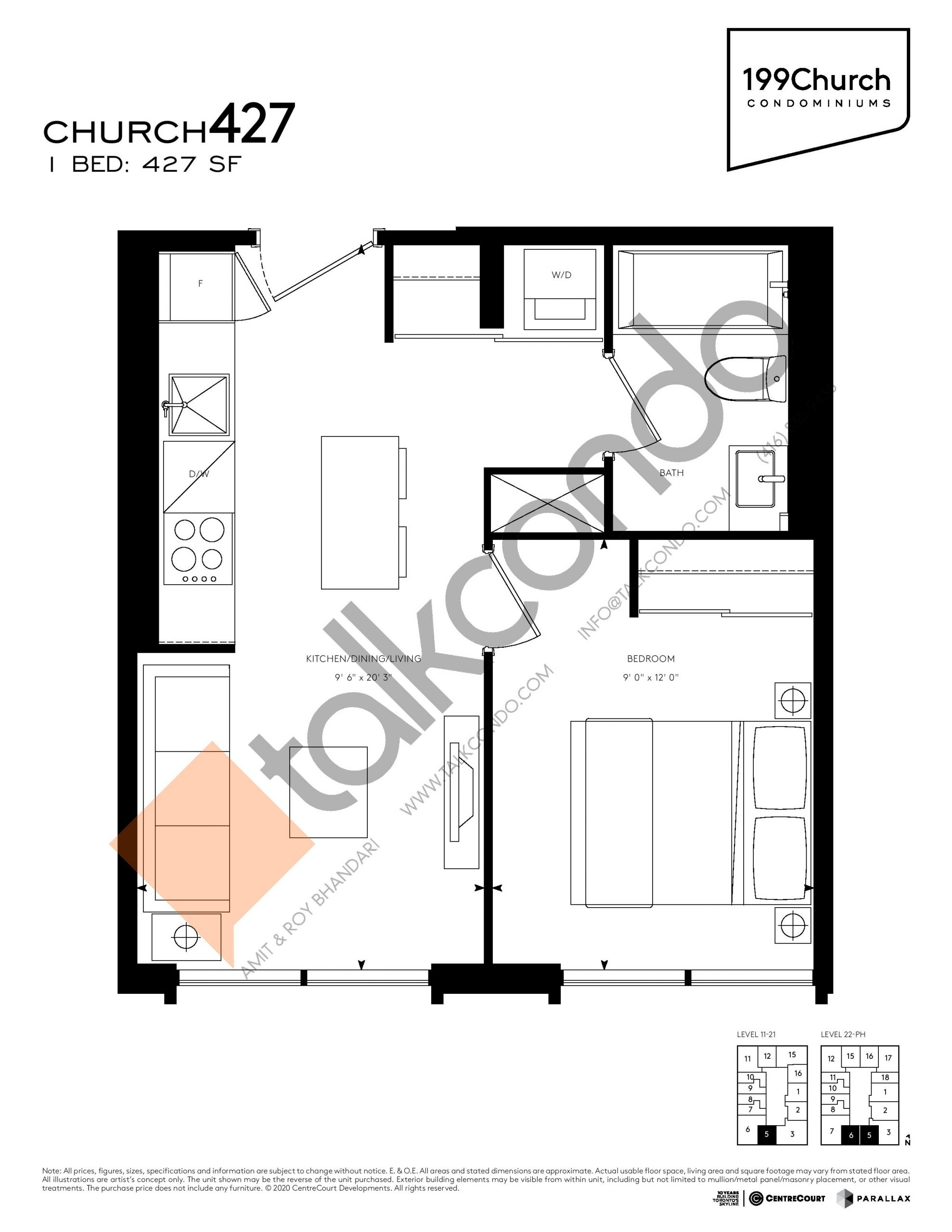 Church 427 Floor Plan at 199 Church Condos - 427 sq.ft
