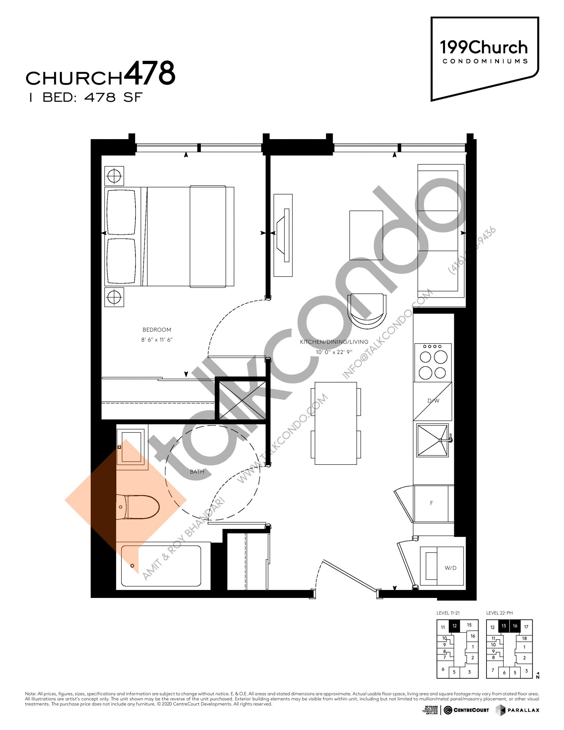 Church 478 Floor Plan at 199 Church Condos - 478 sq.ft