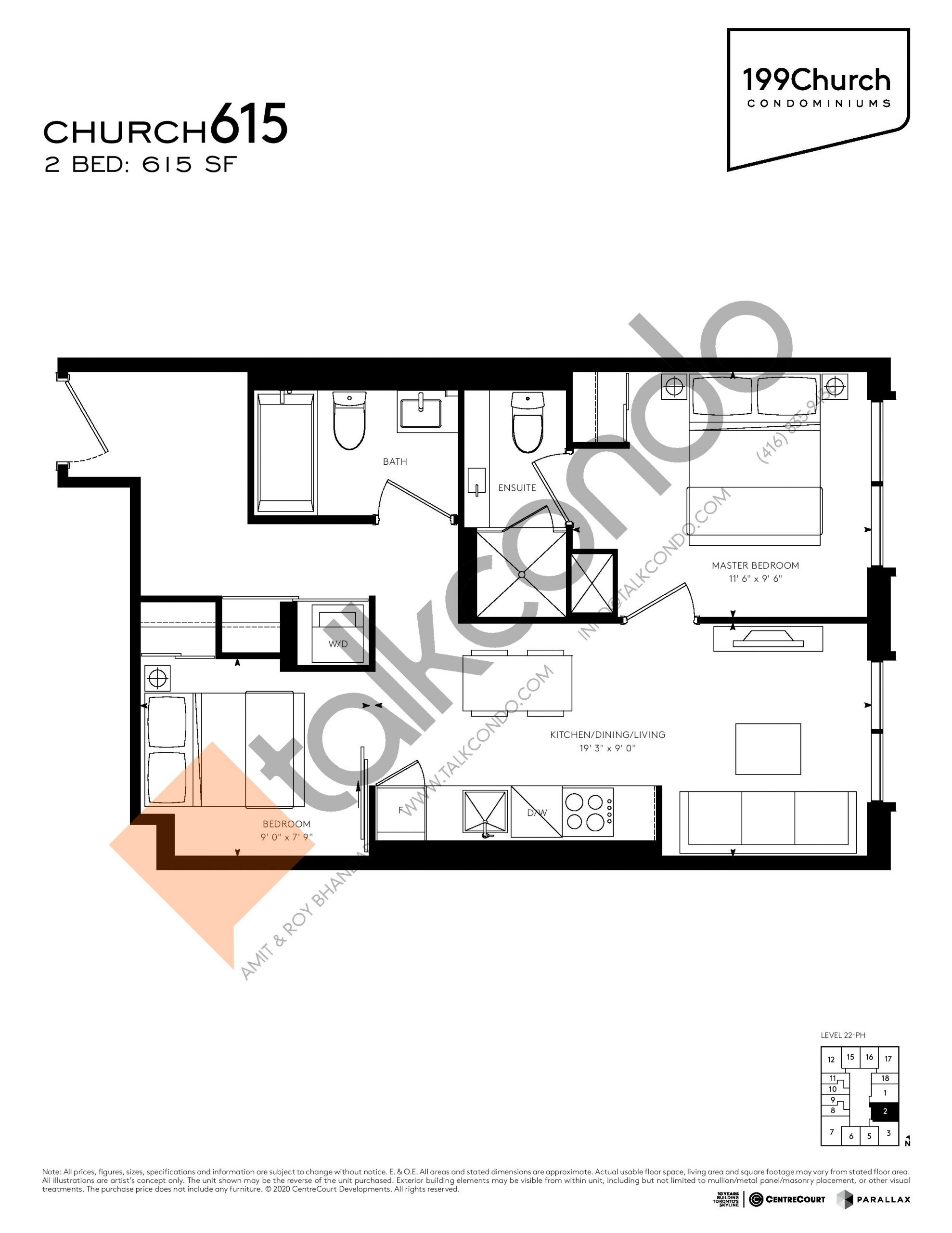 Church 615 Floor Plan at 199 Church Condos - 615 sq.ft