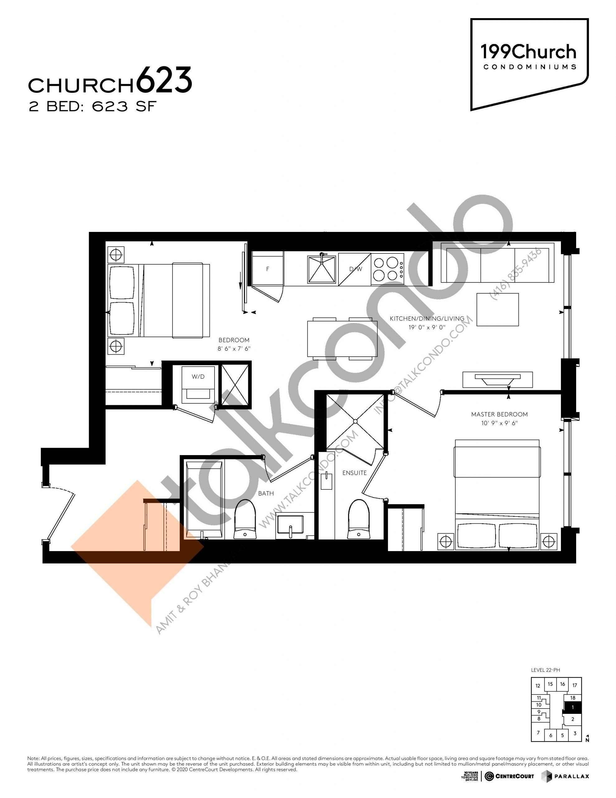 Church 623 Floor Plan at 199 Church Condos - 623 sq.ft