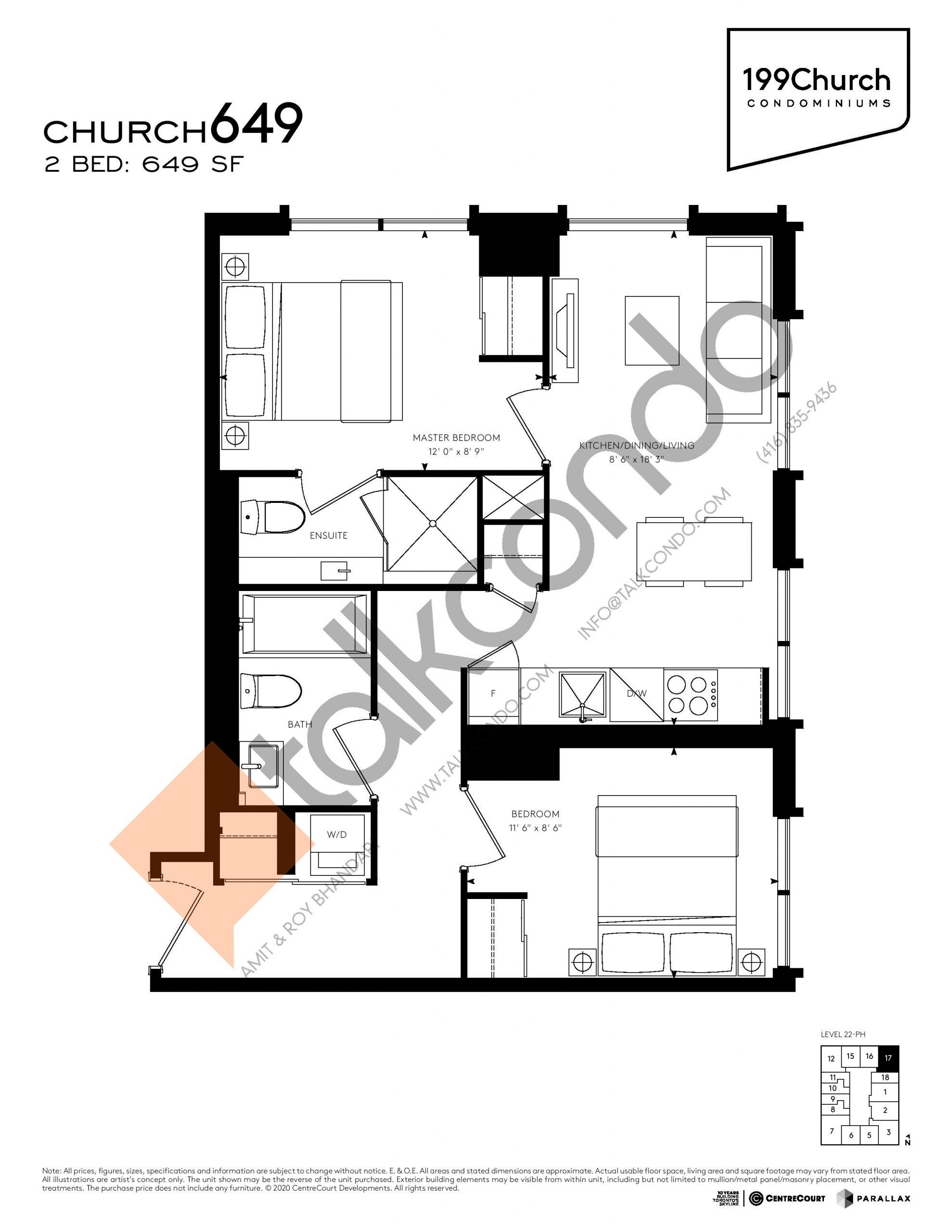 Church 649 Floor Plan at 199 Church Condos - 649 sq.ft