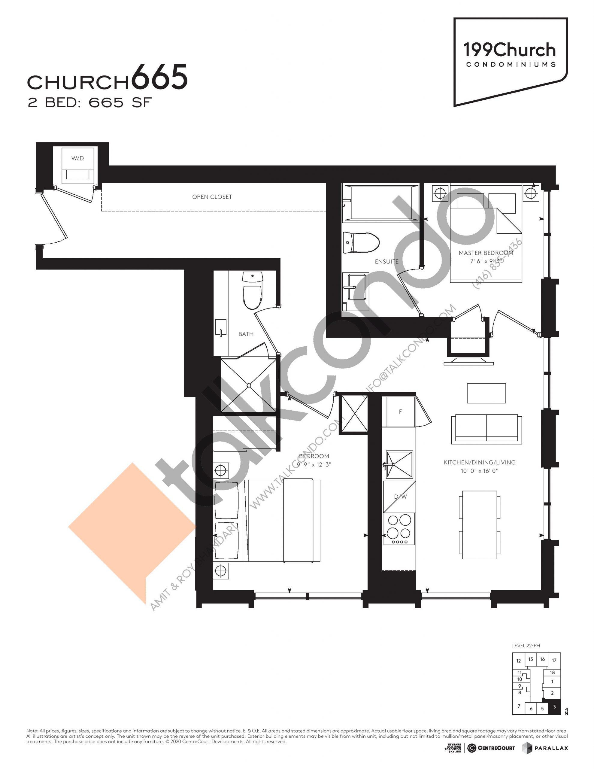 Church 665 Floor Plan at 199 Church Condos - 665 sq.ft