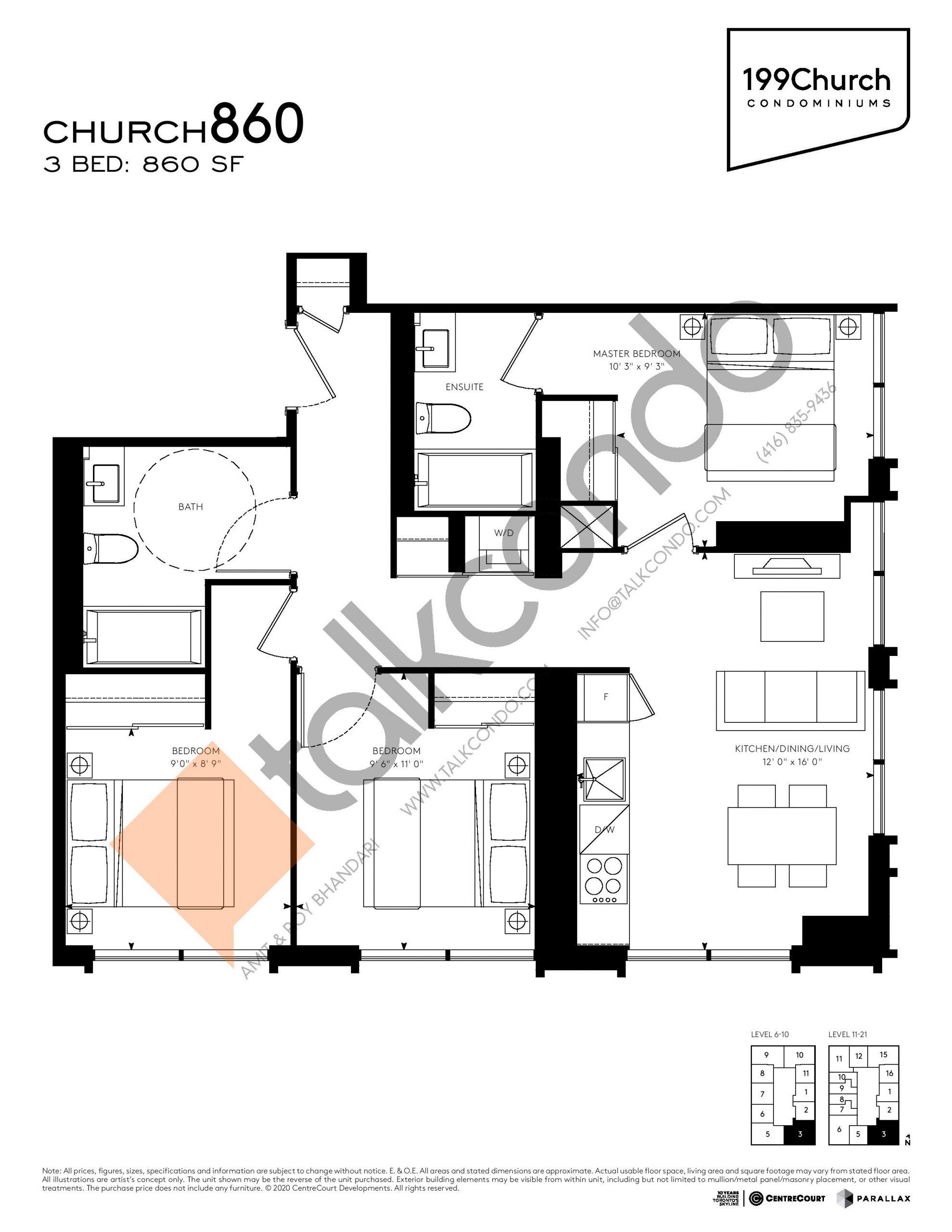 Church 860 Floor Plan at 199 Church Condos - 860 sq.ft