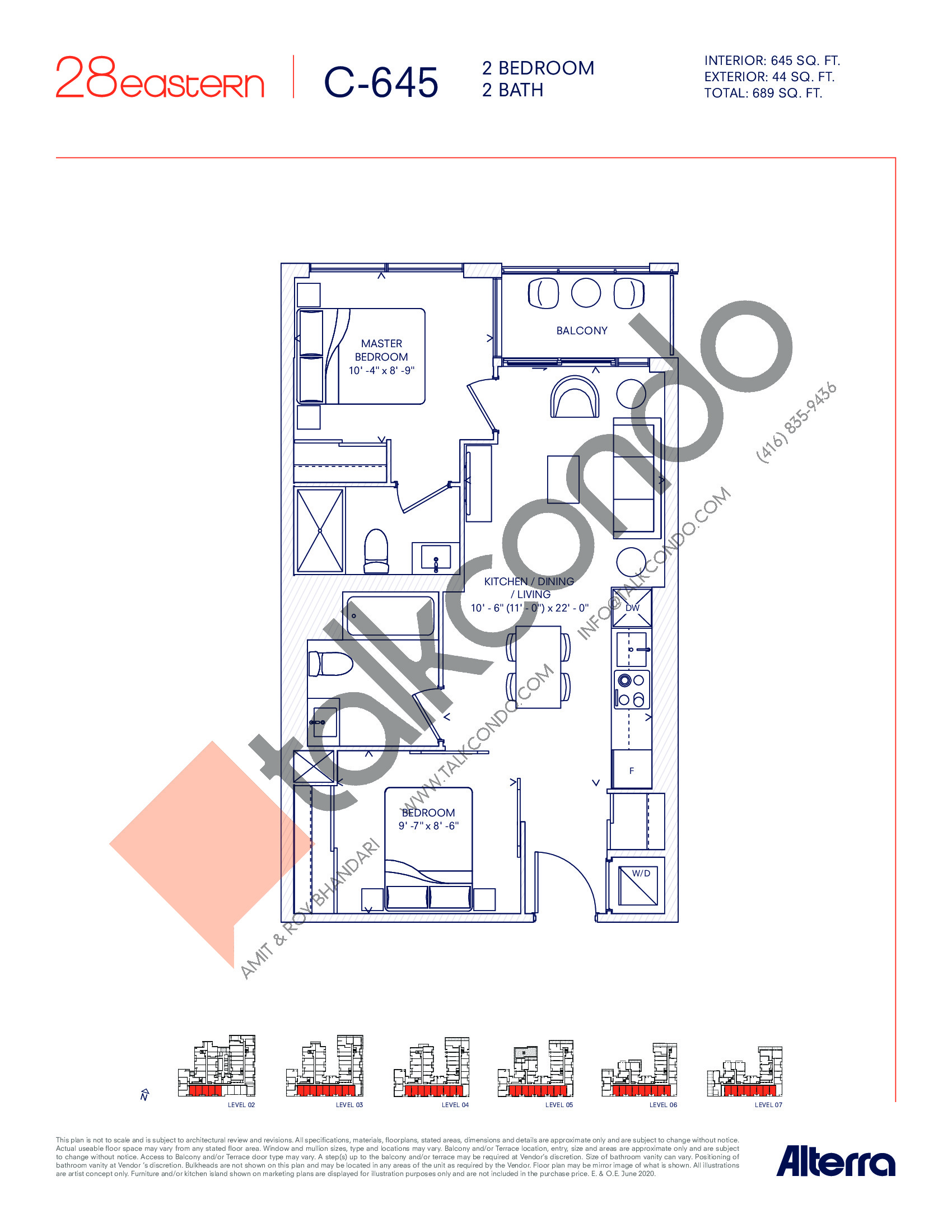 C-645 Floor Plan at 28 Eastern Condos - 645 sq.ft