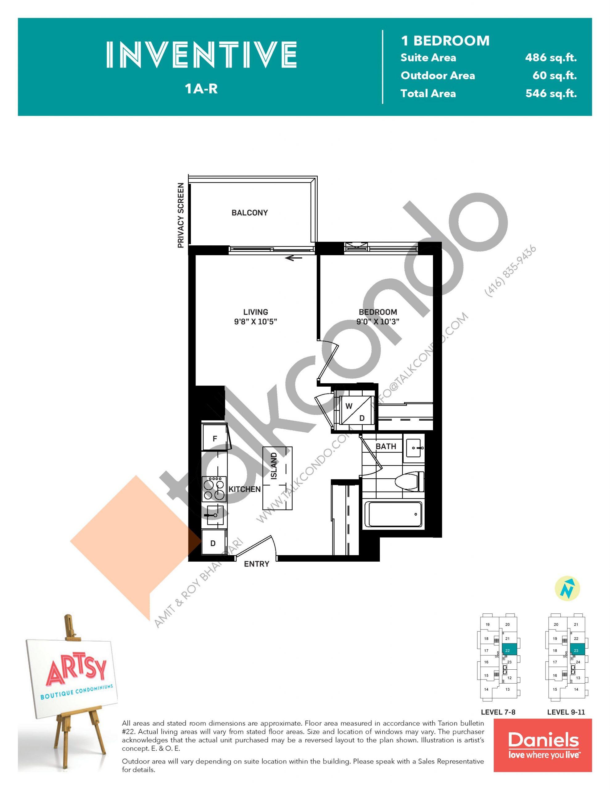Inventive Floor Plan at Artsy Boutique Condos - 486 sq.ft