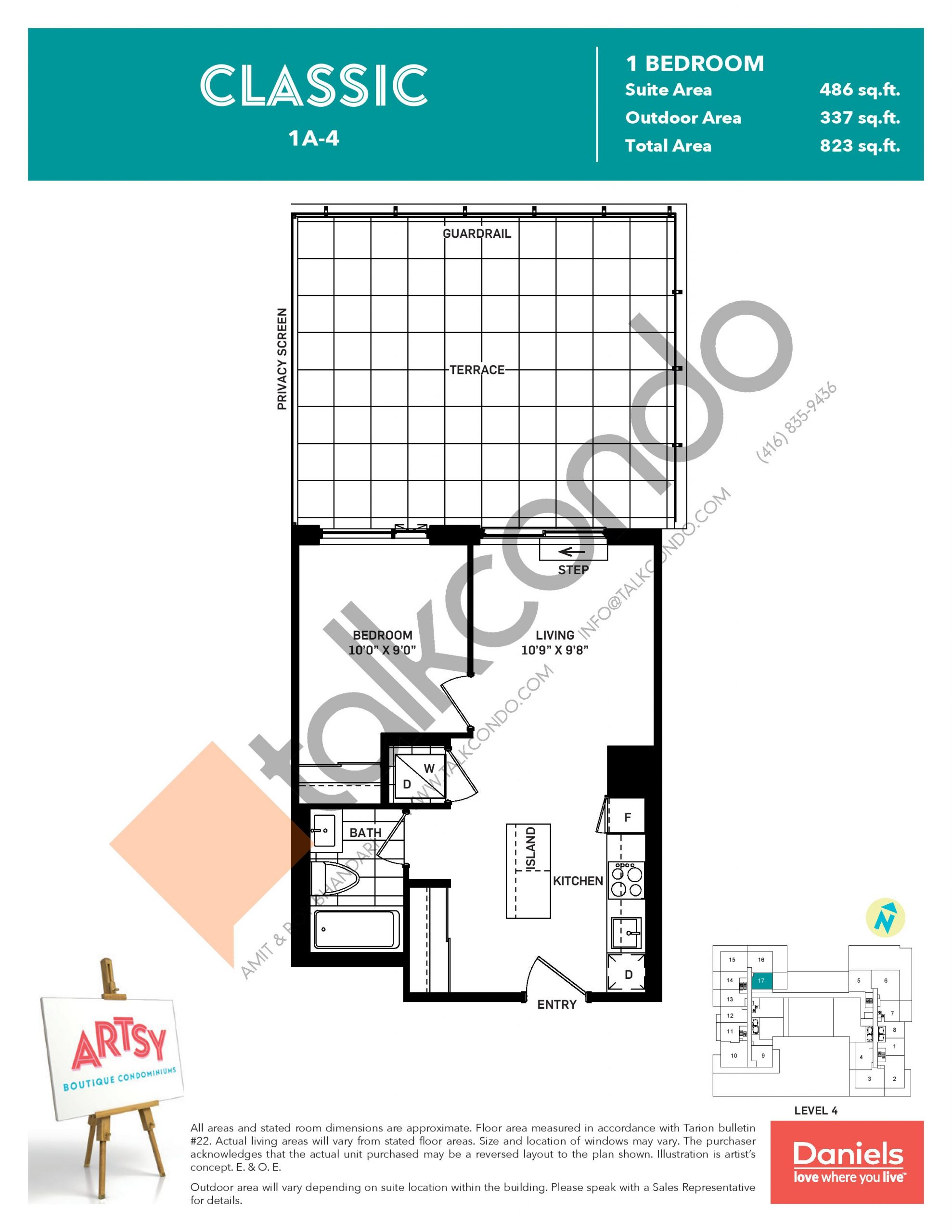 Classic Floor Plan at Artsy Boutique Condos - 486 sq.ft