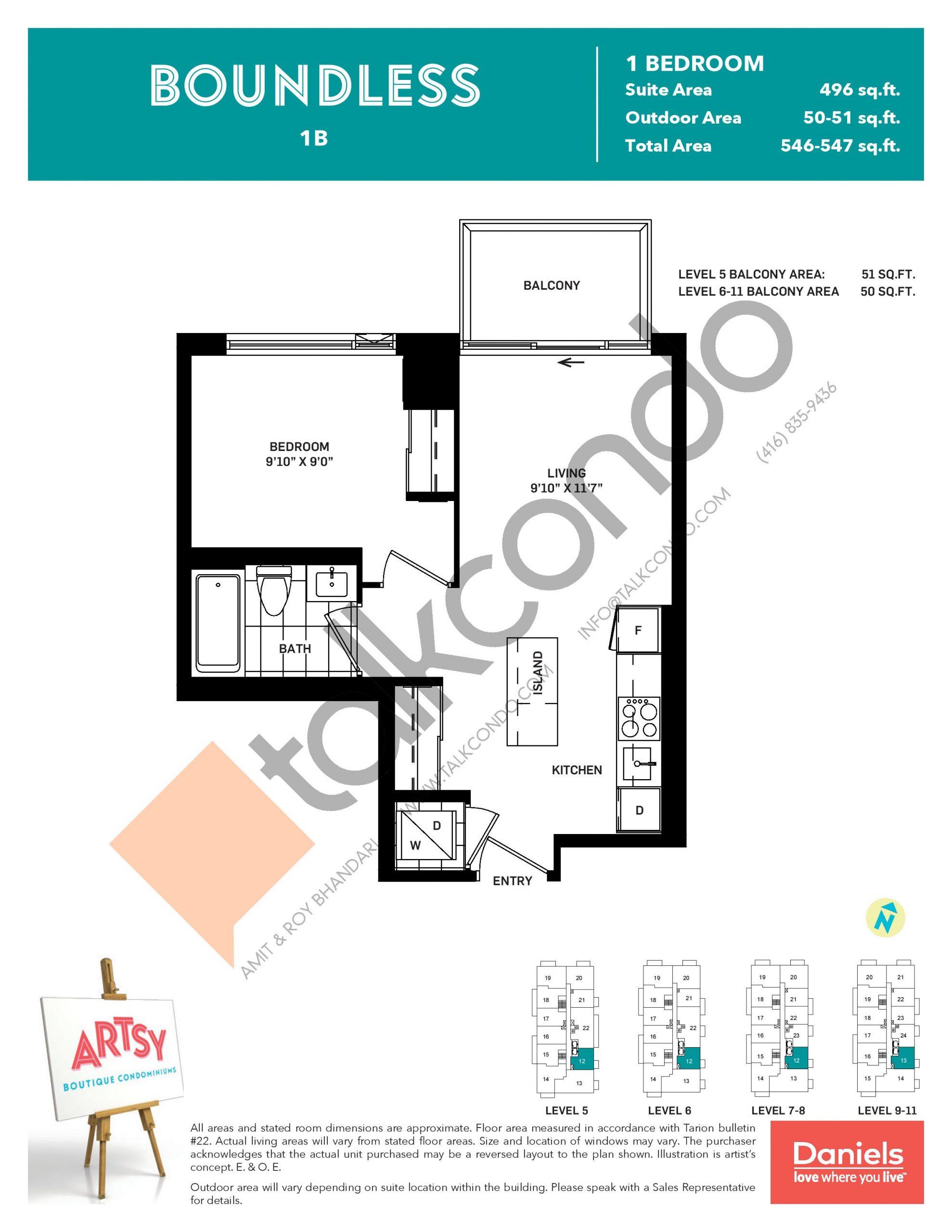 Boundless Floor Plan at Artsy Boutique Condos - 496 sq.ft