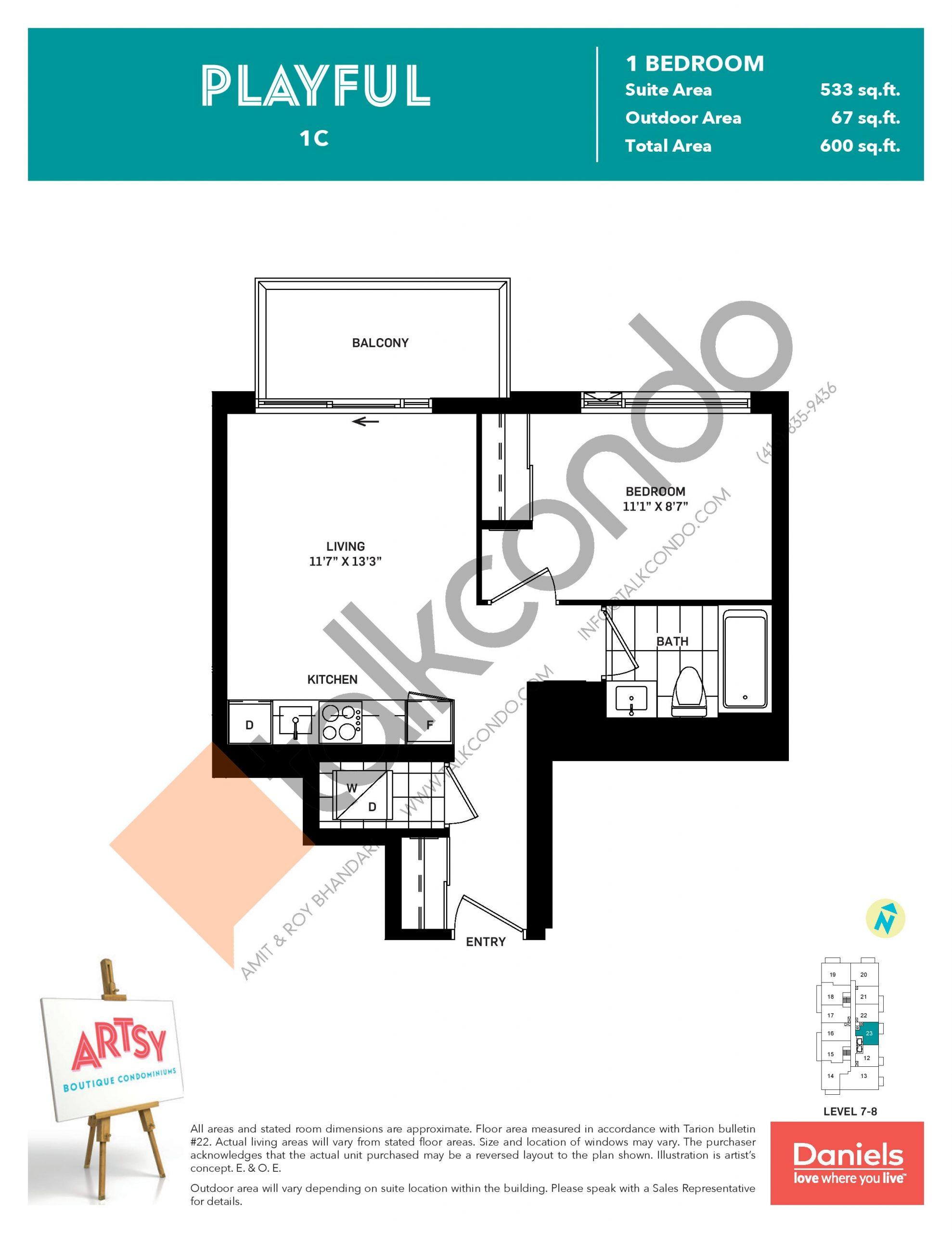 Playful Floor Plan at Artsy Boutique Condos - 533 sq.ft