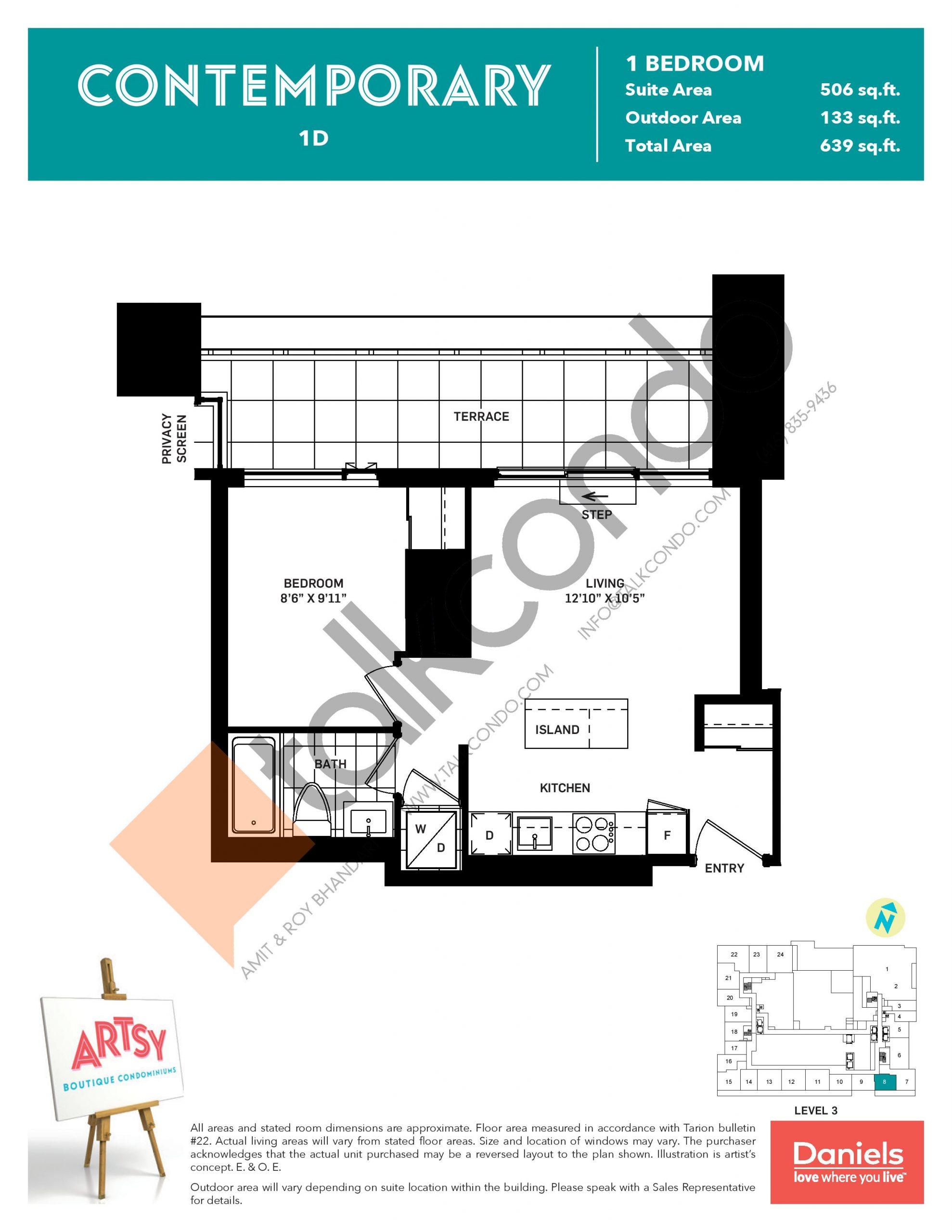 Contemporary Floor Plan at Artsy Boutique Condos - 506 sq.ft