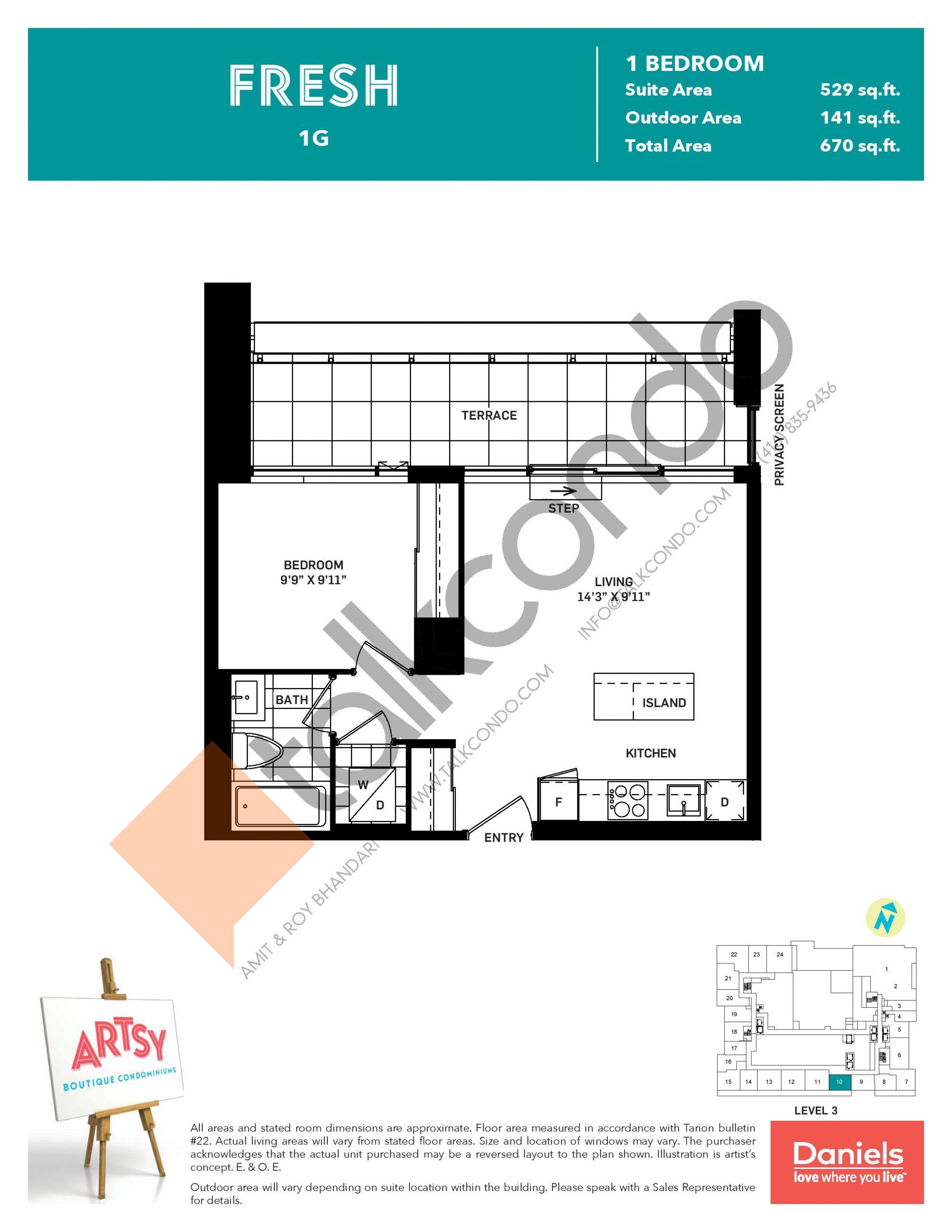 Fresh Floor Plan at Artsy Boutique Condos - 529 sq.ft