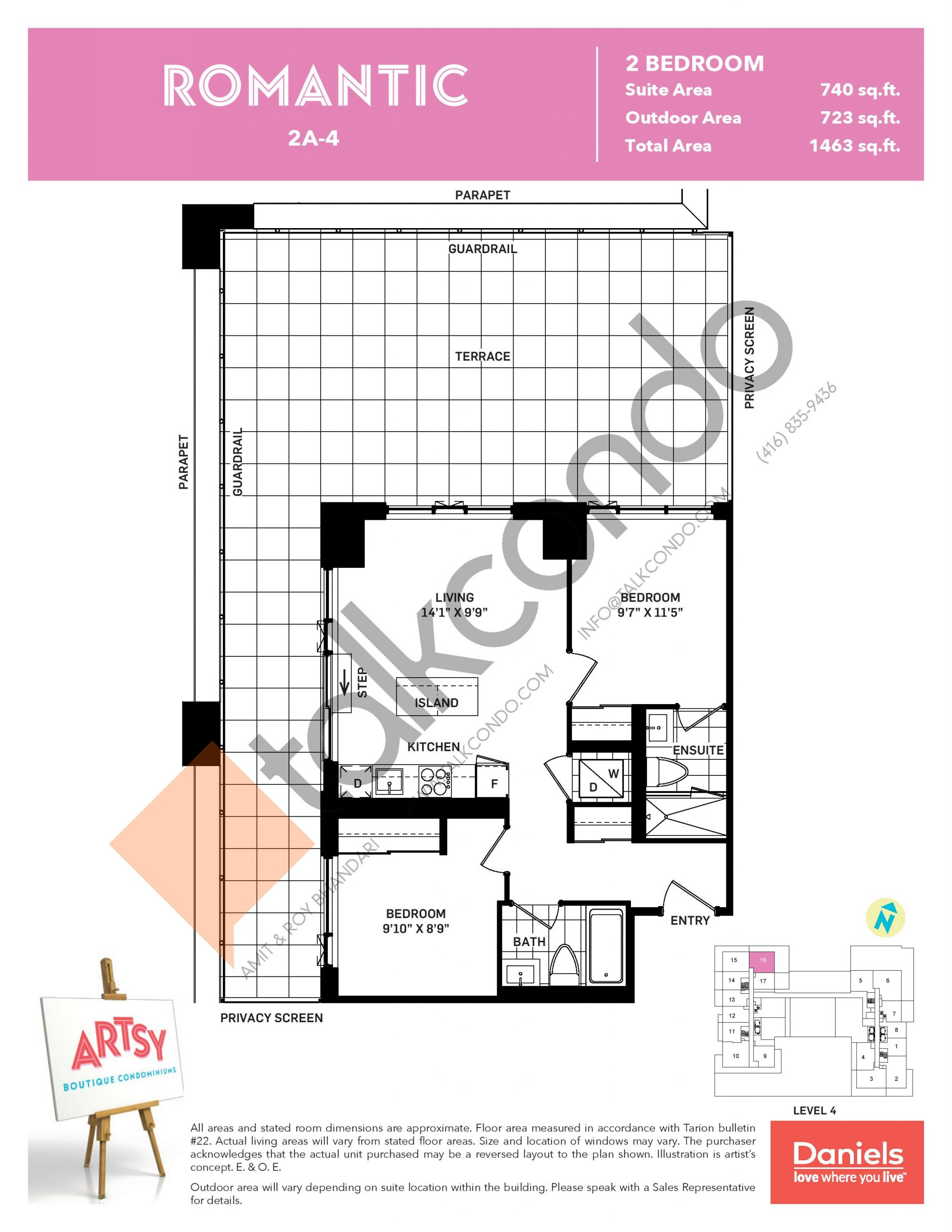 Romantic Floor Plan at Artsy Boutique Condos - 740 sq.ft