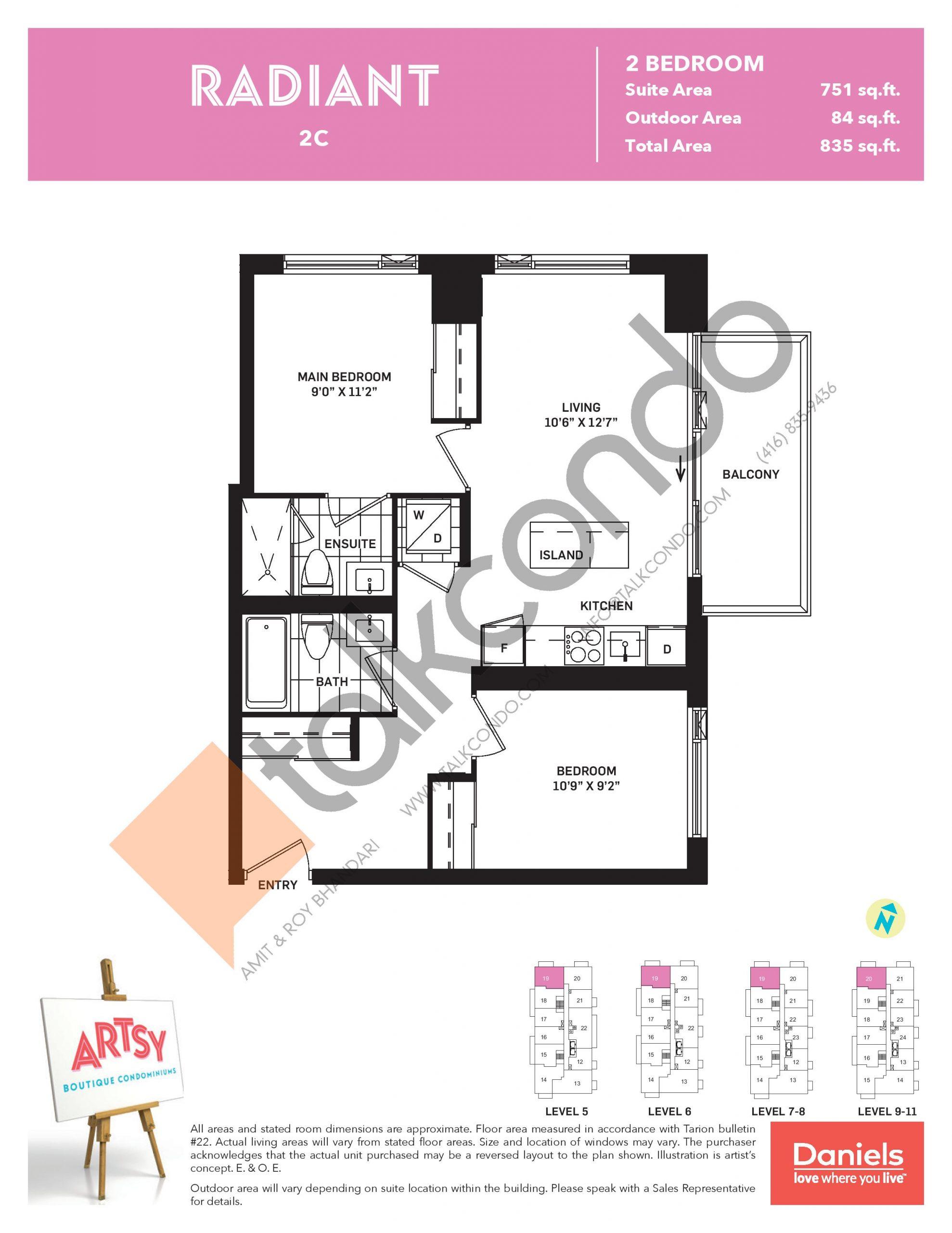 Radiant Floor Plan at Artsy Boutique Condos - 751 sq.ft