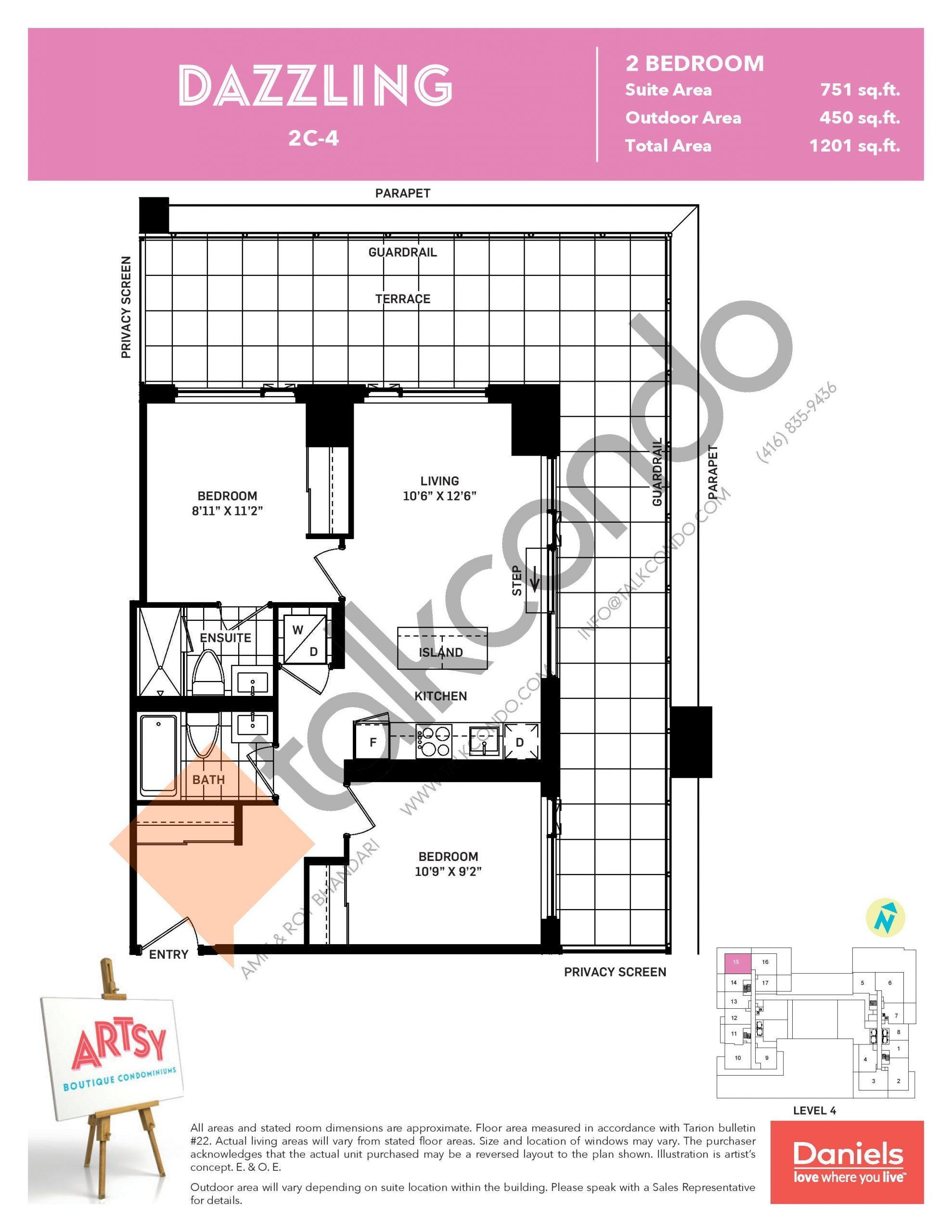 Dazzling Floor Plan at Artsy Boutique Condos - 751 sq.ft
