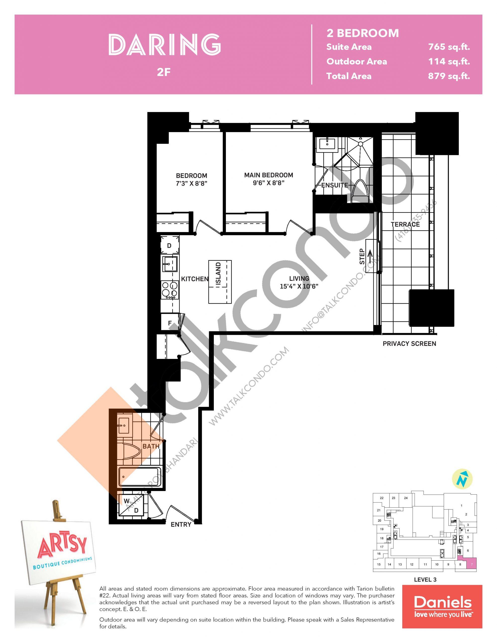 Daring Floor Plan at Artsy Boutique Condos - 765 sq.ft