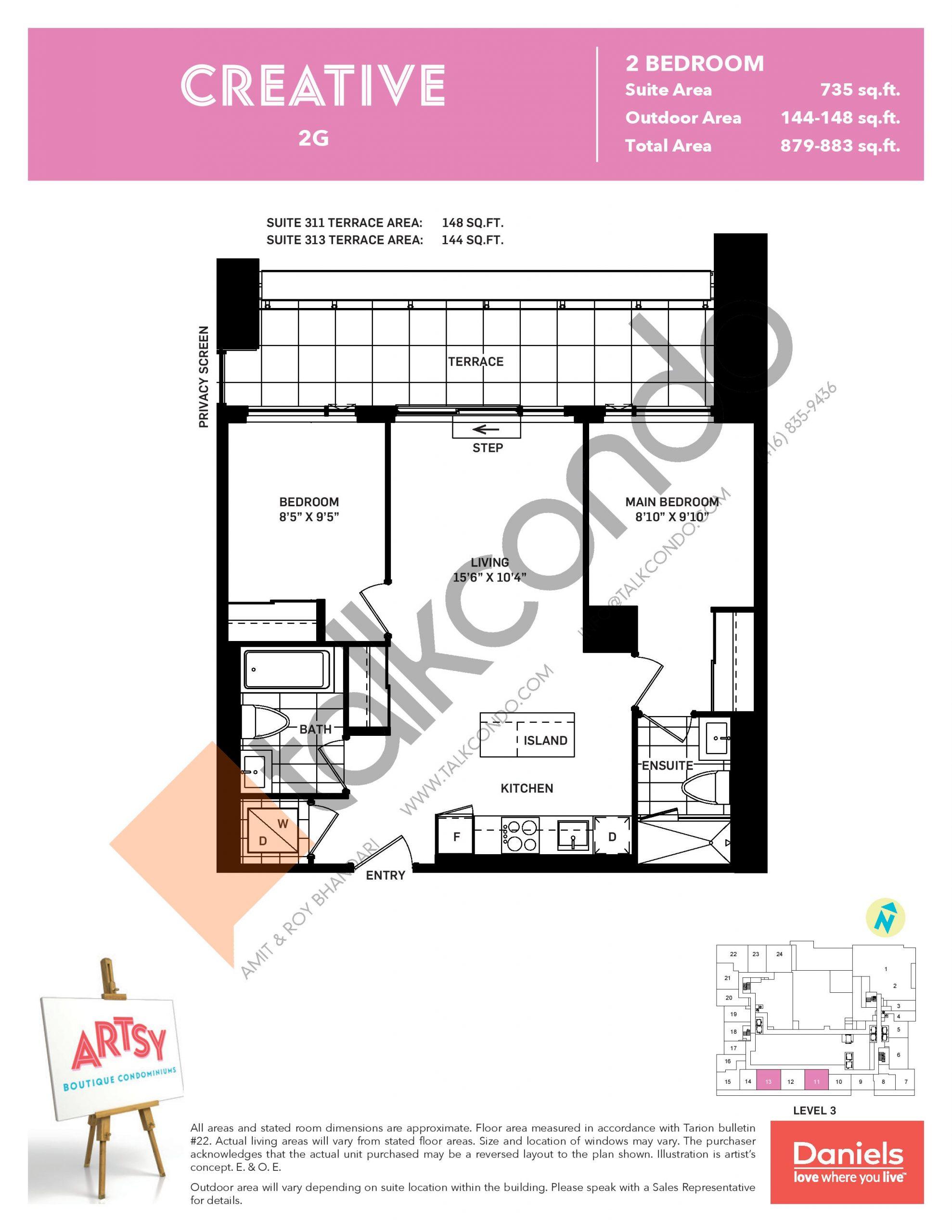 Creative Floor Plan at Artsy Boutique Condos - 735 sq.ft