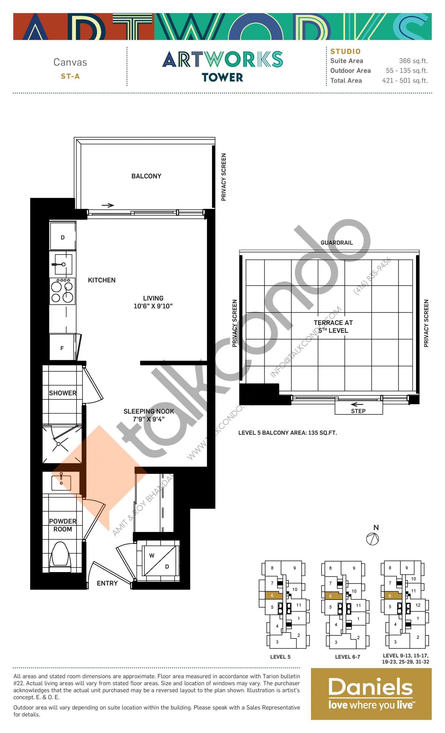Canvas Floor Plan at Artworks Tower Condos - 366 sq.ft