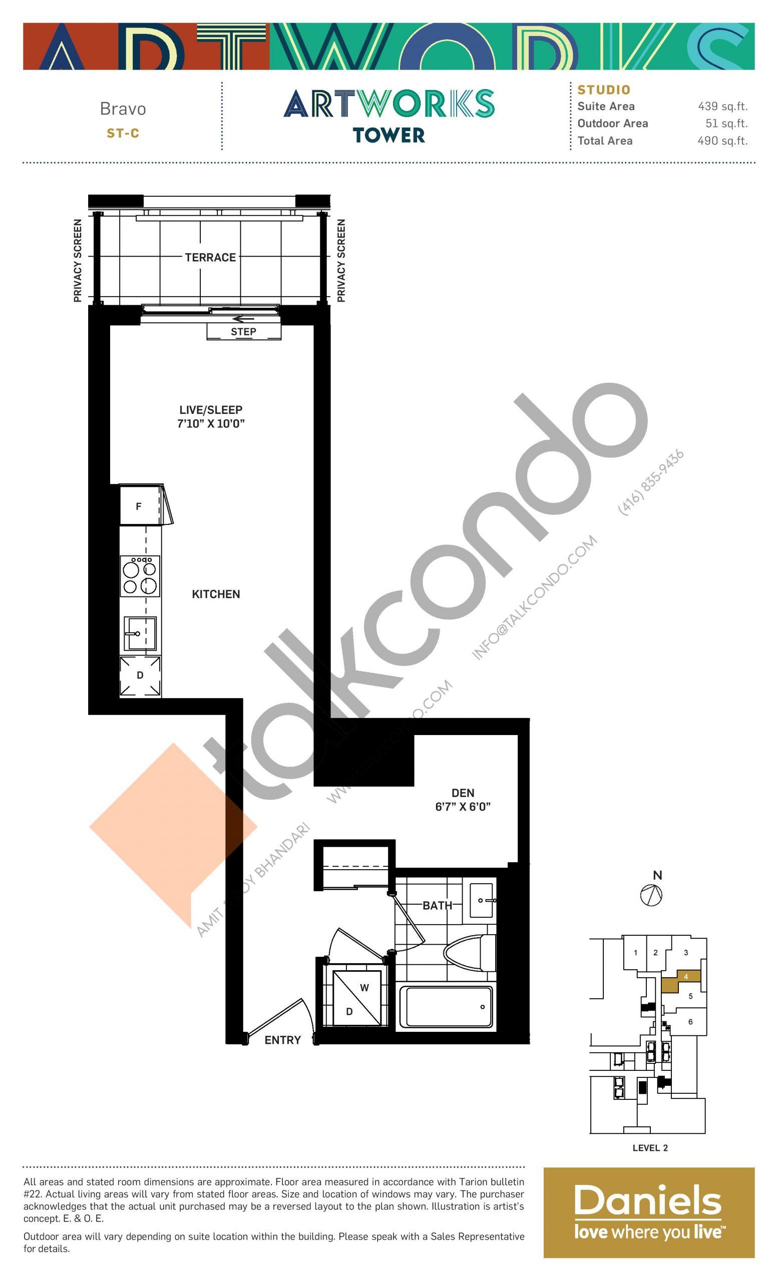 Bravo Floor Plan at Artworks Tower Condos - 439 sq.ft