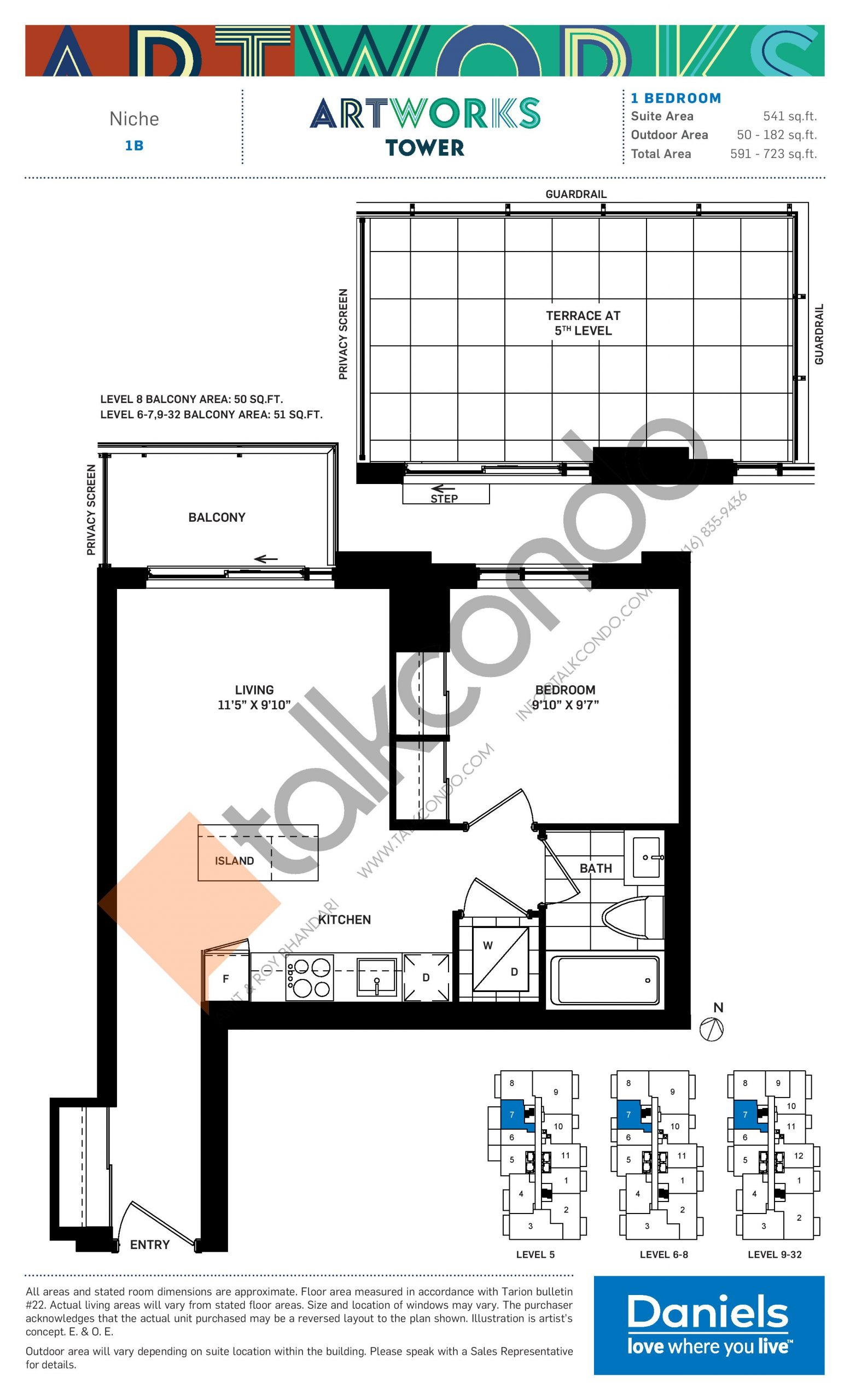 Niche Floor Plan at Artworks Tower Condos - 541 sq.ft