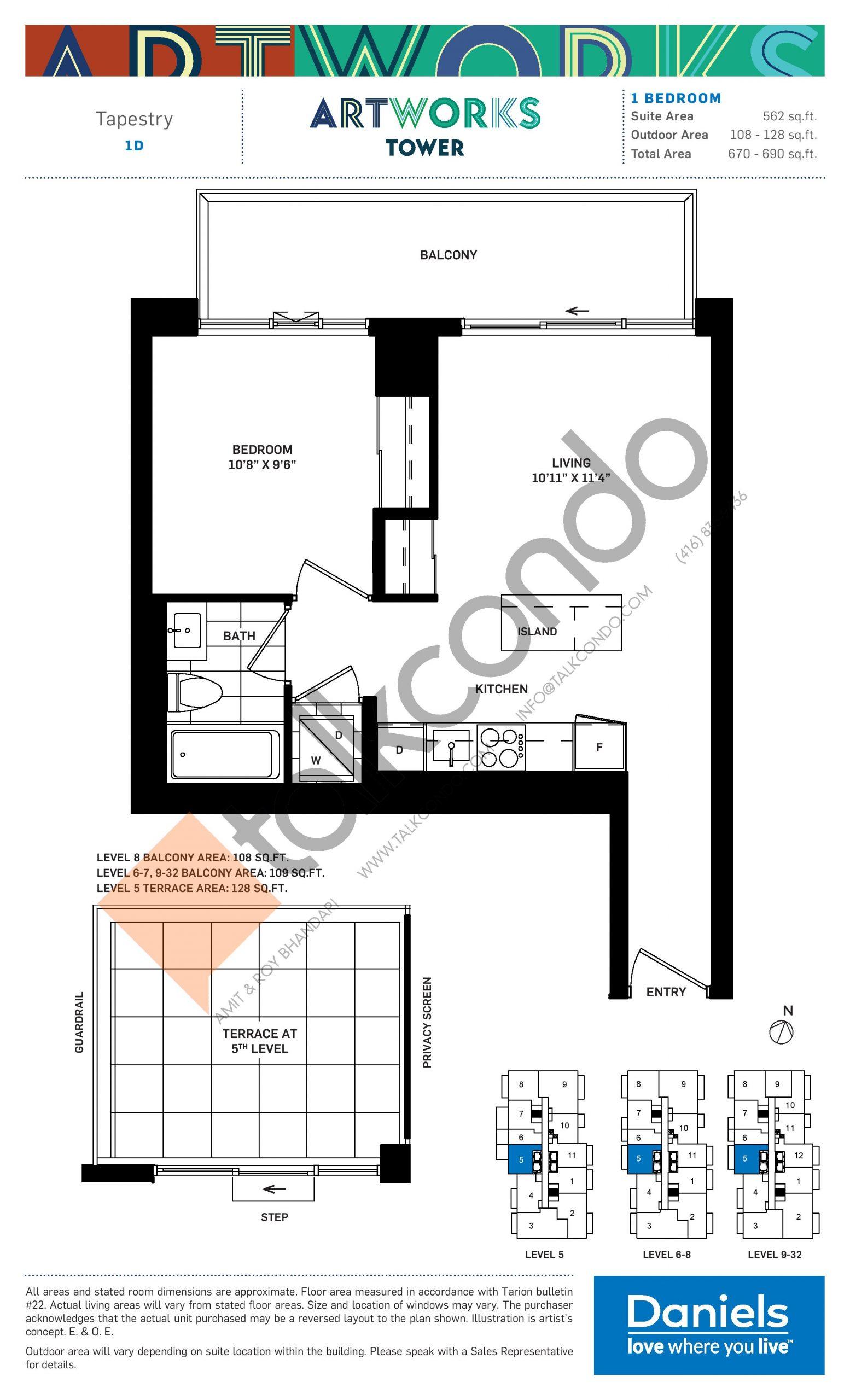 Tapestry Floor Plan at Artworks Tower Condos - 562 sq.ft