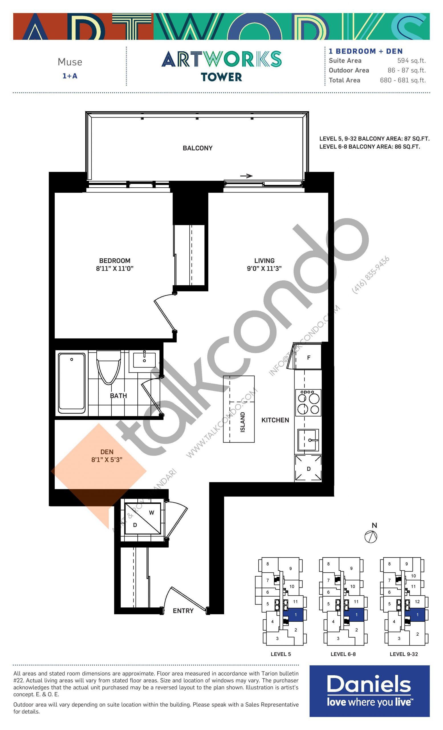 Muse Floor Plan at Artworks Tower Condos - 594 sq.ft